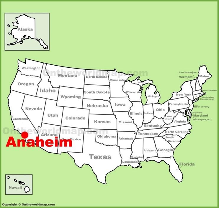 Anaheim location on the U.S. Map