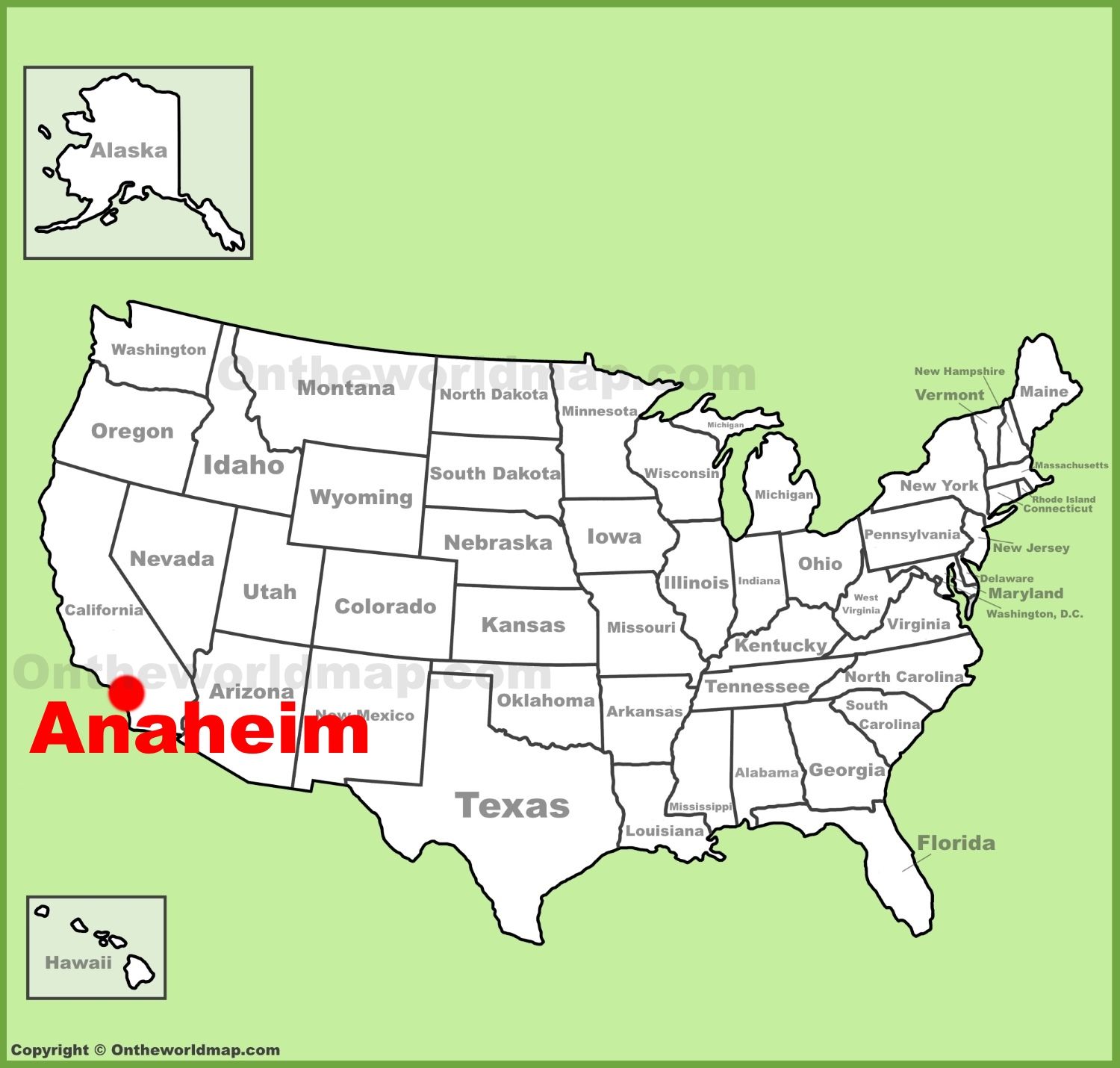 Anaheim location on the US Map