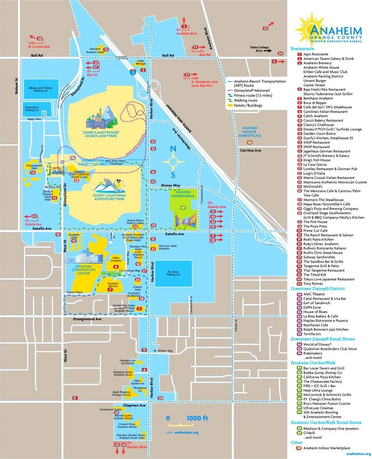 Anaheim tourist attractions map