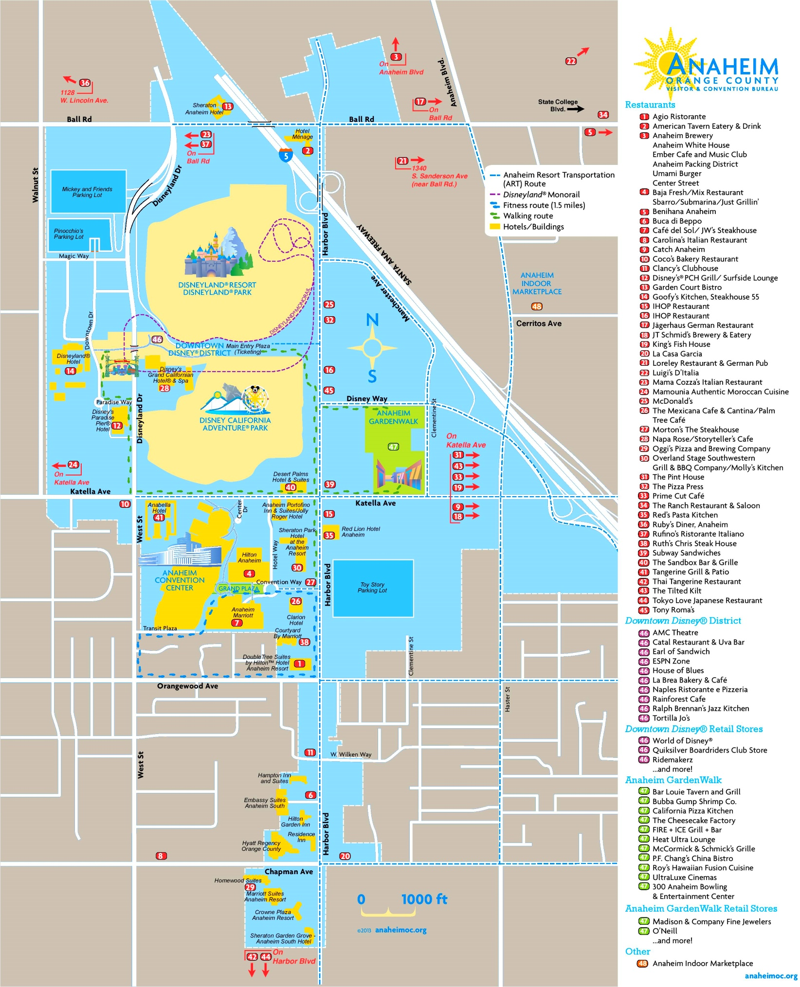 Anaheim tourist attractions map