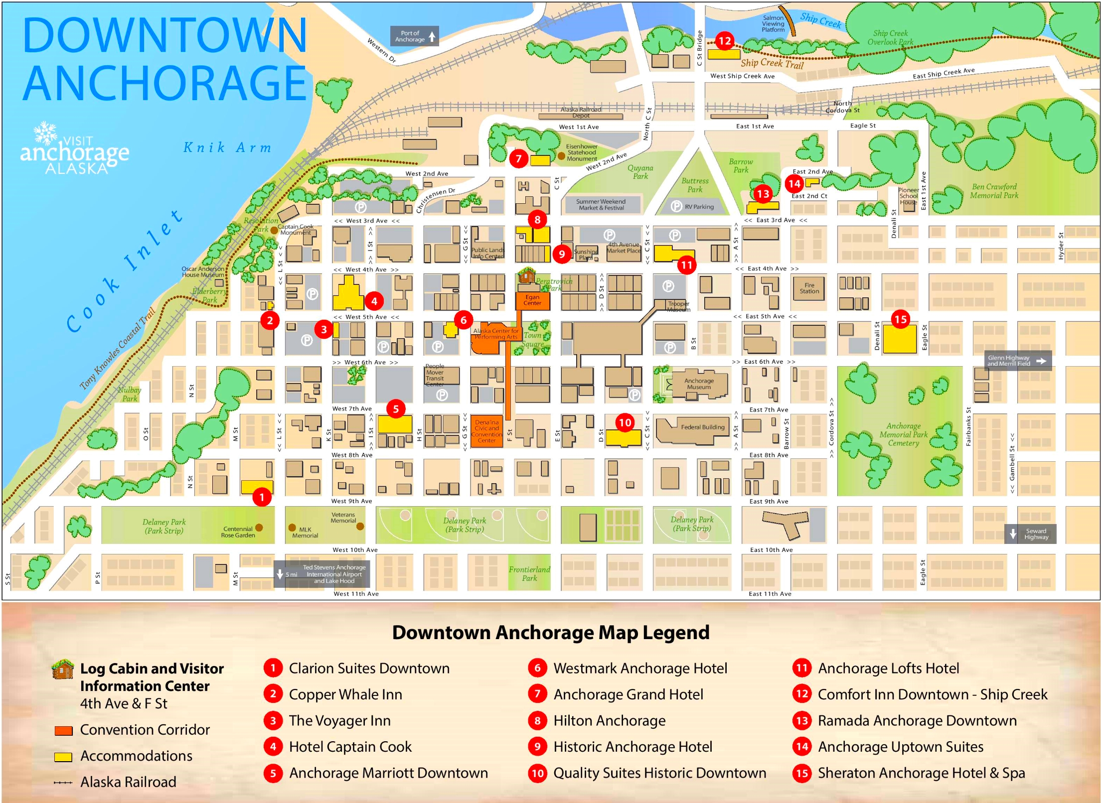 Anchorage Downtown Hotel Map