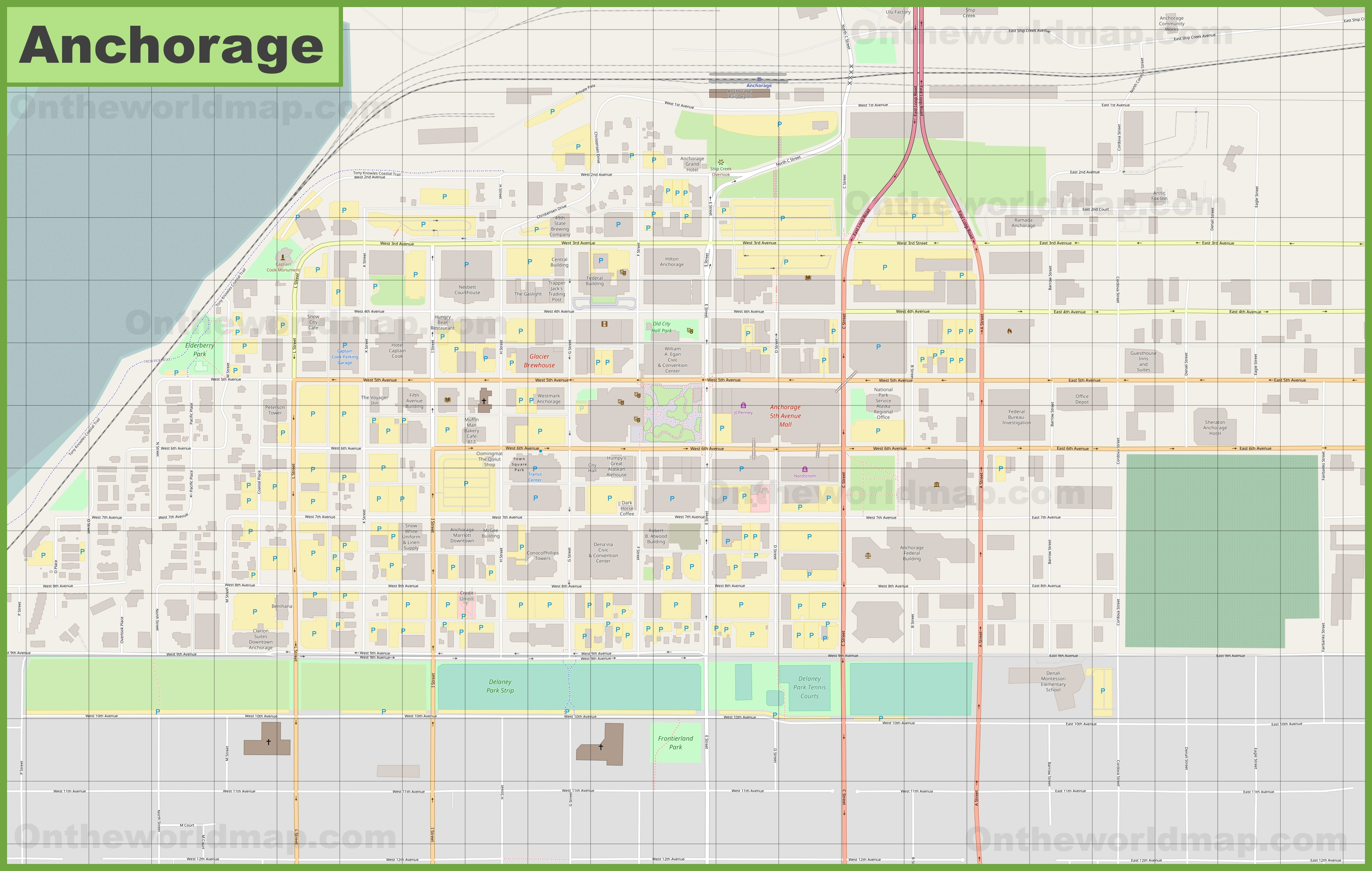Anchorage downtown map