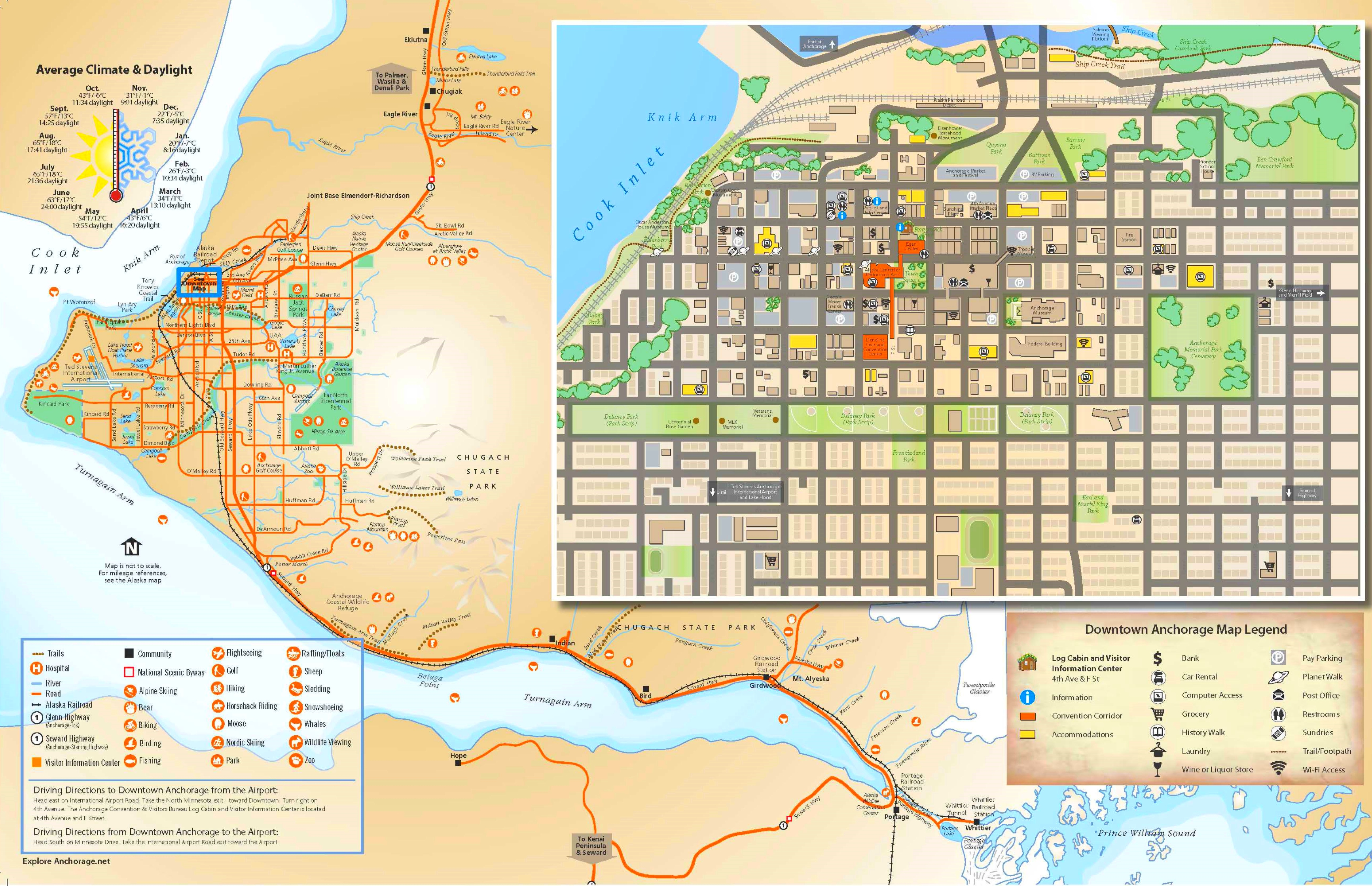 Map Of Anchorage Anchorage tourist map