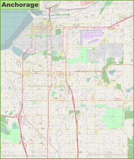 Large detailed map of Anchorage