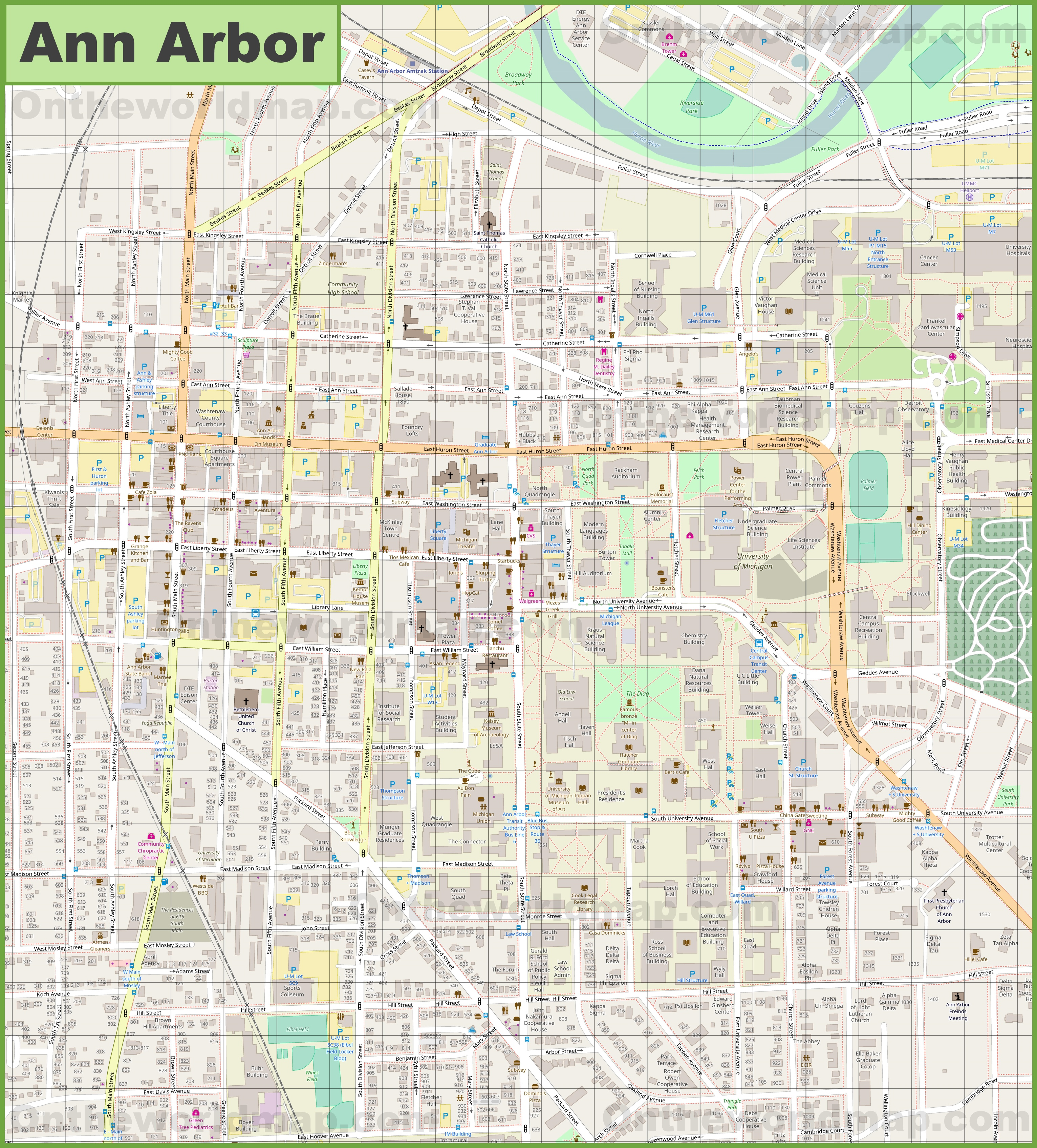 Ann Arbor downtown map