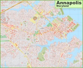 Large detailed map of Annapolis