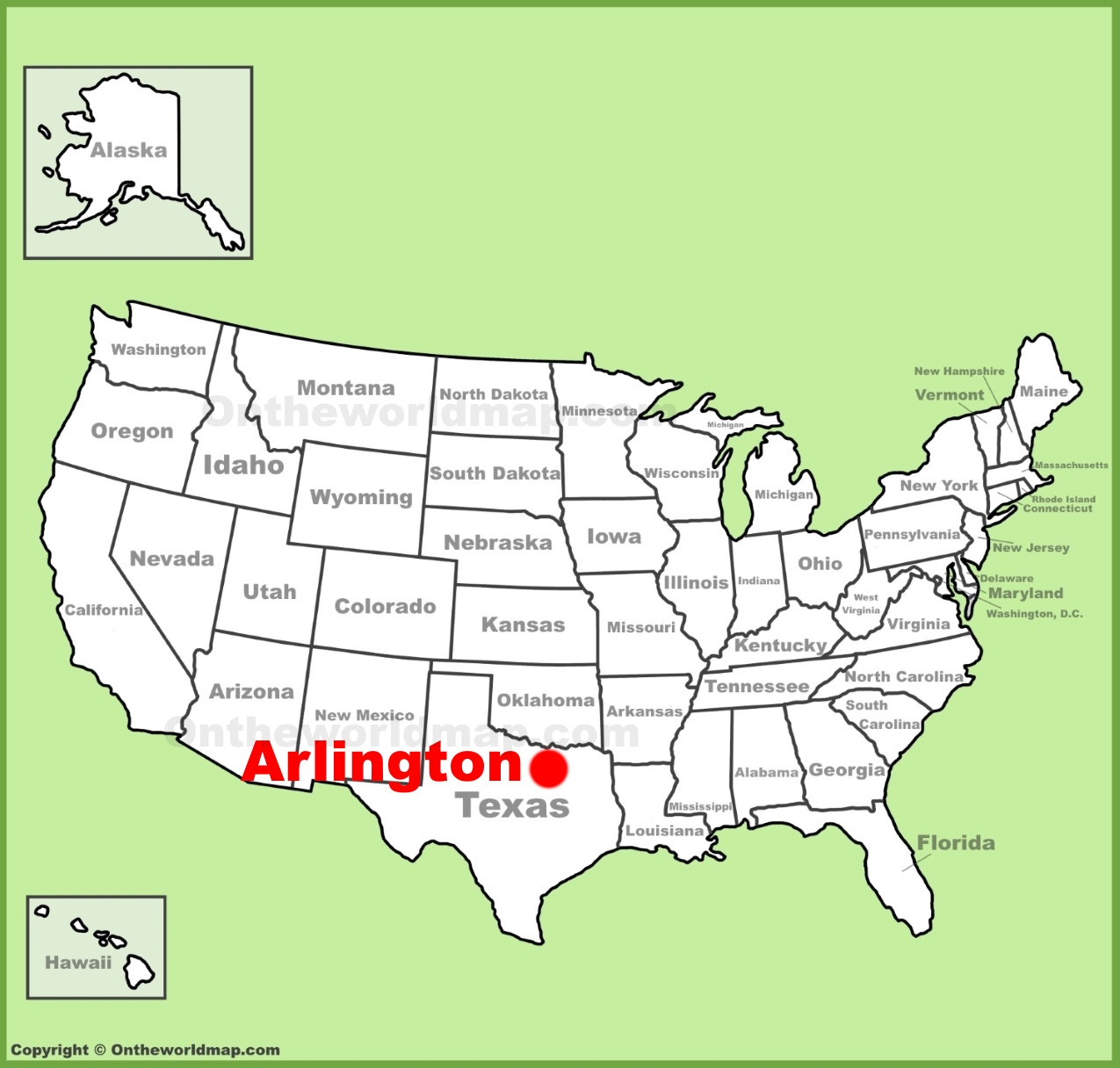 Arlington Texas Location On The U S Map