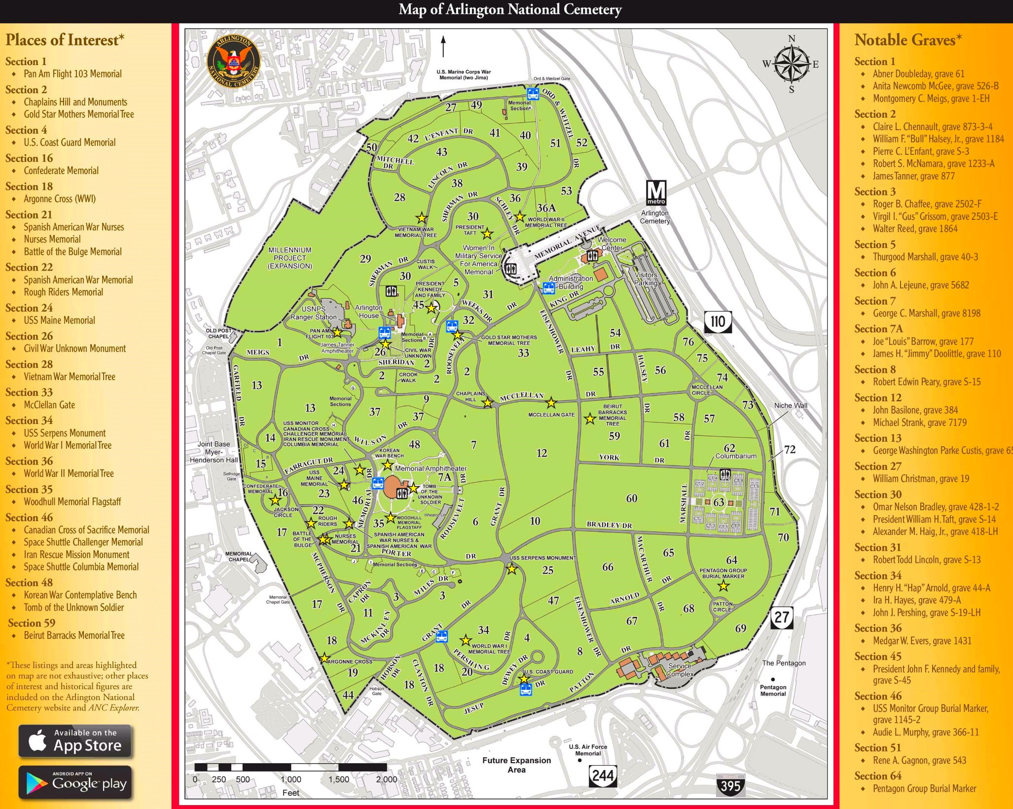 Map Of Arlington Cemetery Arlington National Cemetery map