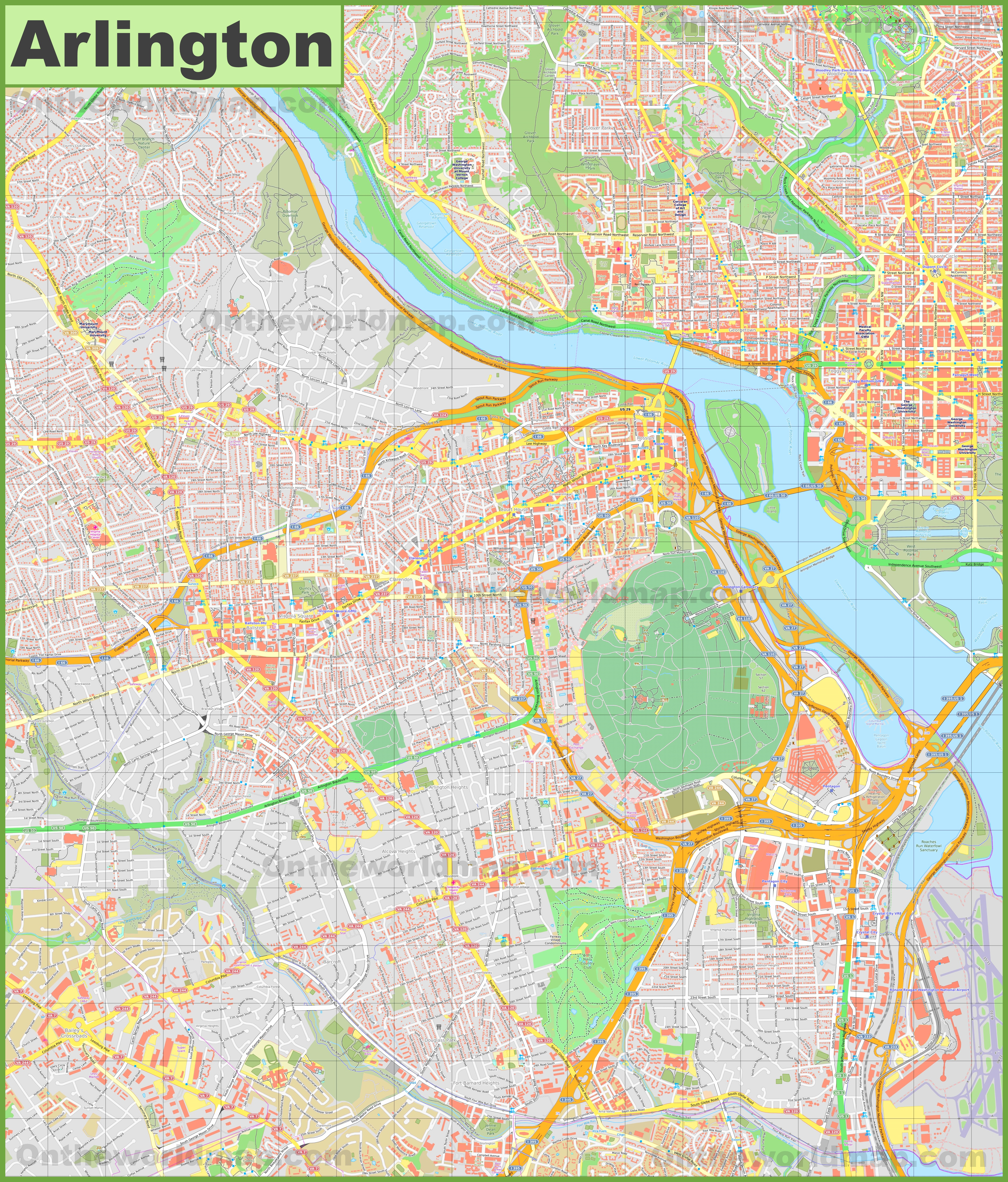 Large detailed map of Arlington