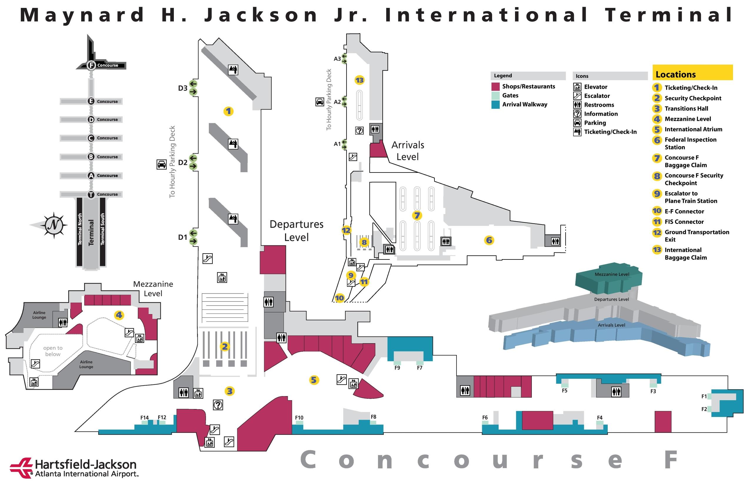Atl Airport Terminal Map Atlanta airport international terminal F map Atl Airport Terminal Map