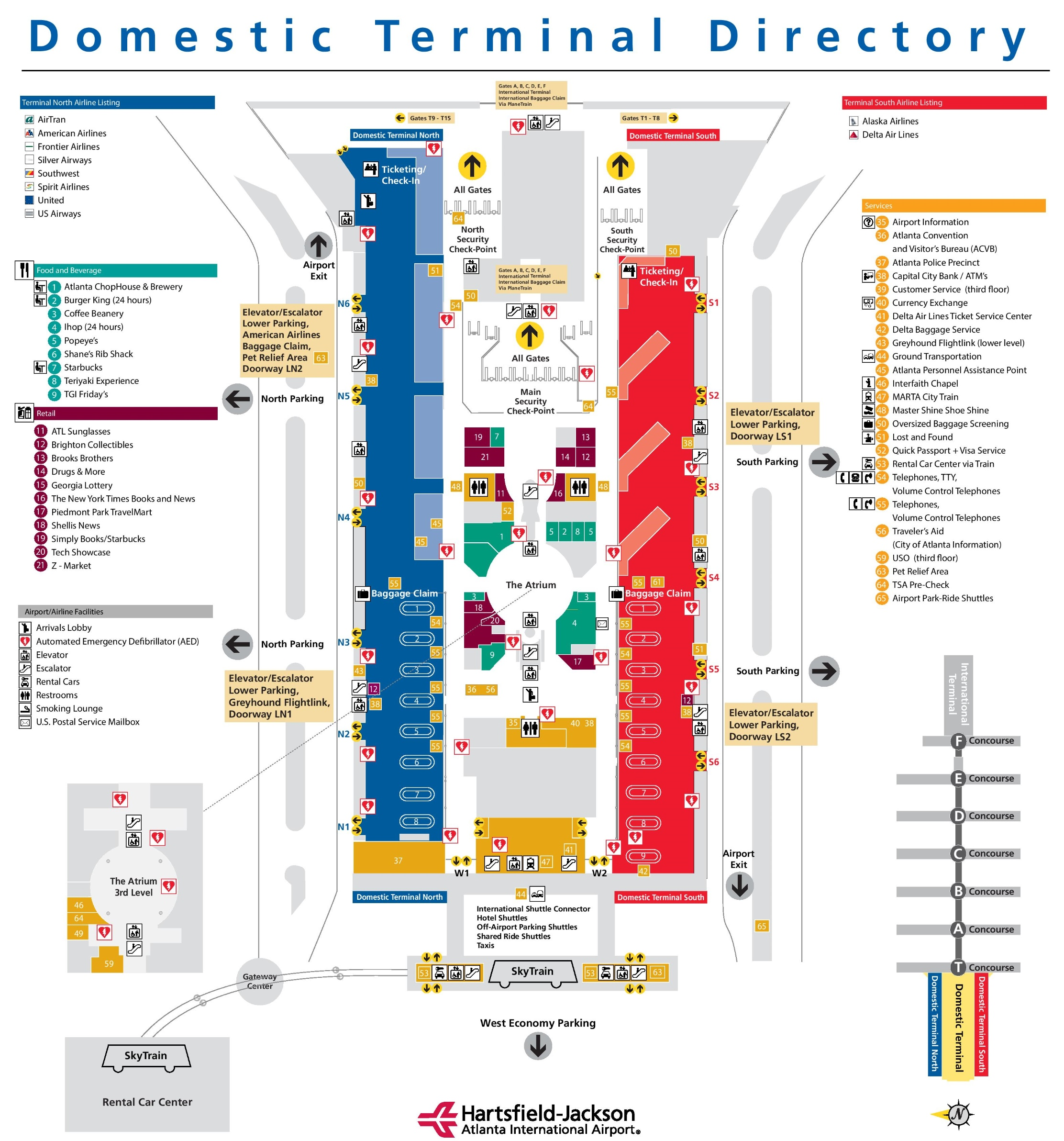 Atlanta Airport Domestic Terminal Map Atlanta airport main terminal map