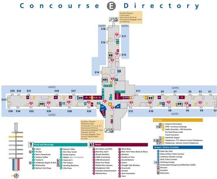 atlanta airport terminal e map