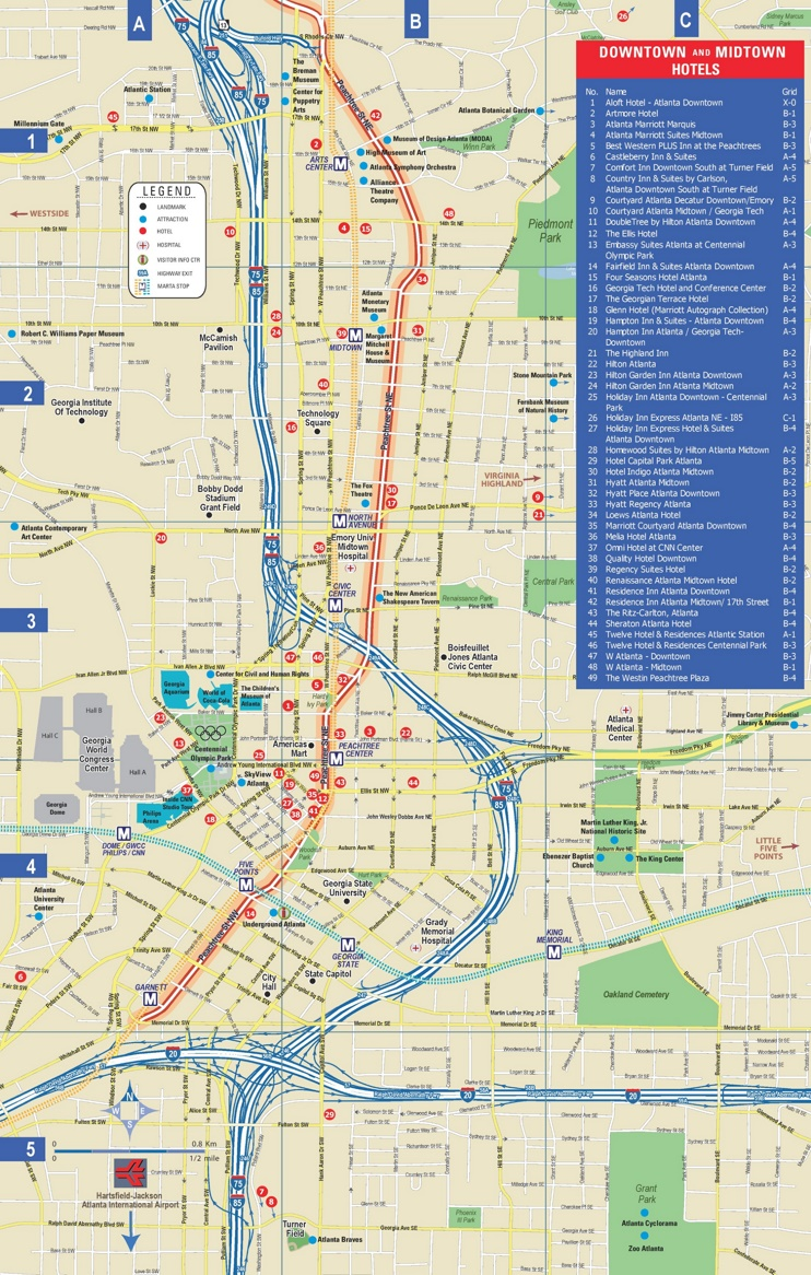 Atlanta downtown and midtown hotel map on