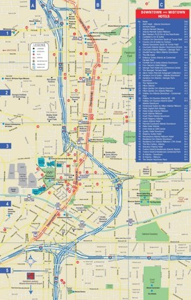 Atlanta downtown and midtown hotel map