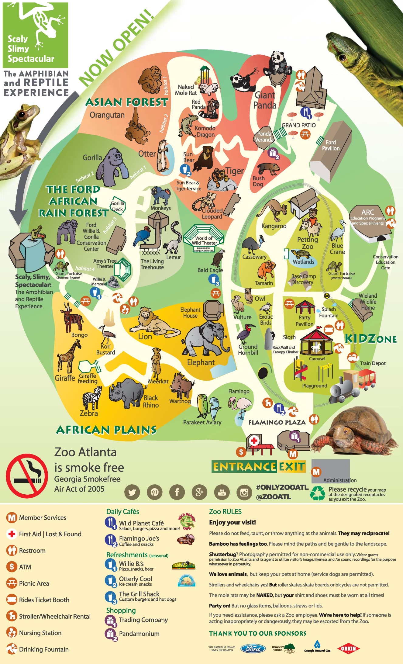 Atlanta Zoo map – Tourist Attractions Map In Atlanta