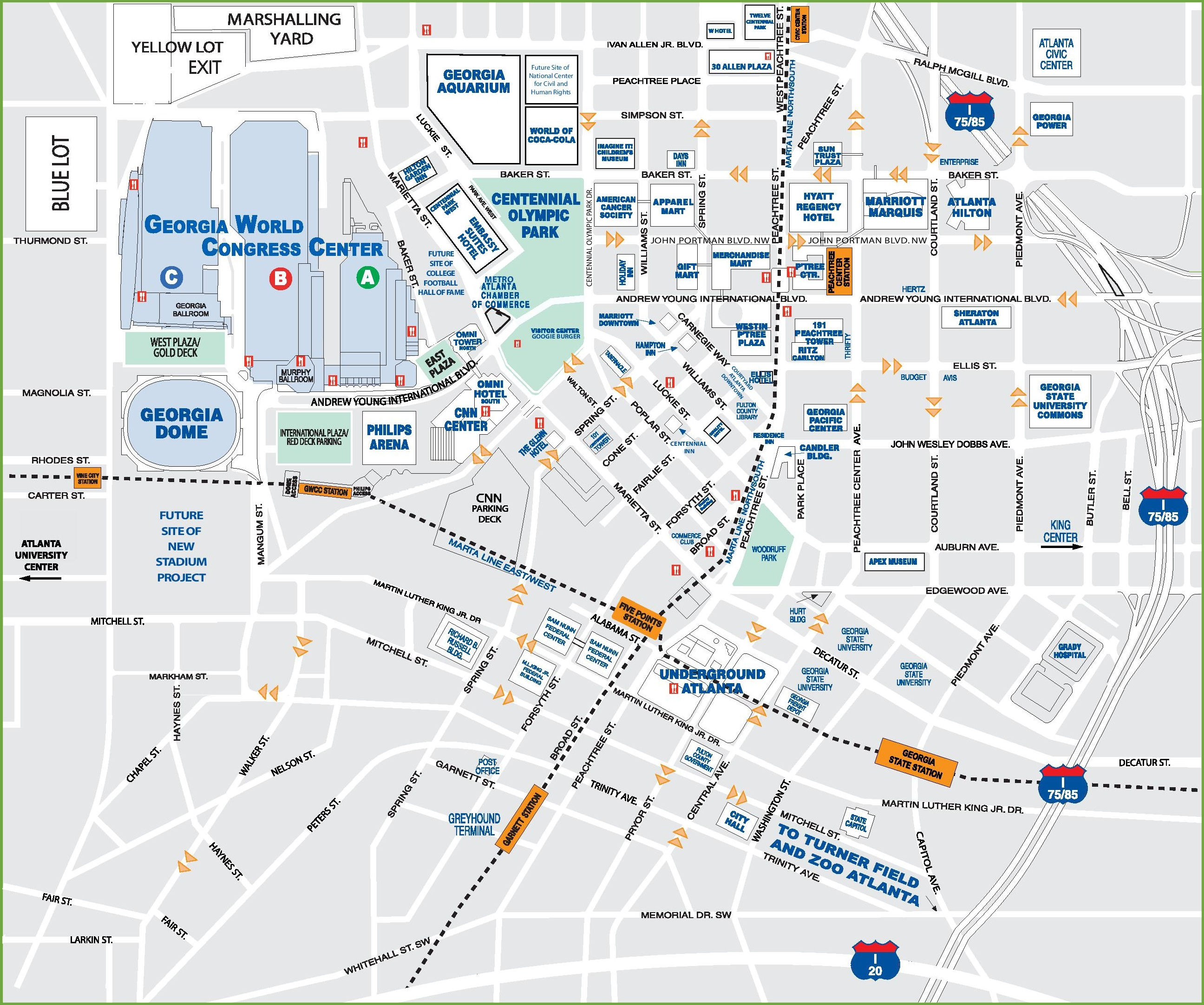 Atlanta Downtown Map Downtown Atlanta tourist map
