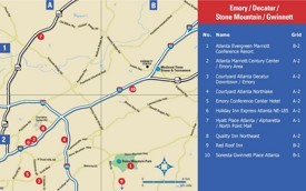 Emory, Decatur, Stone Mountain and Gwinnett hotel map