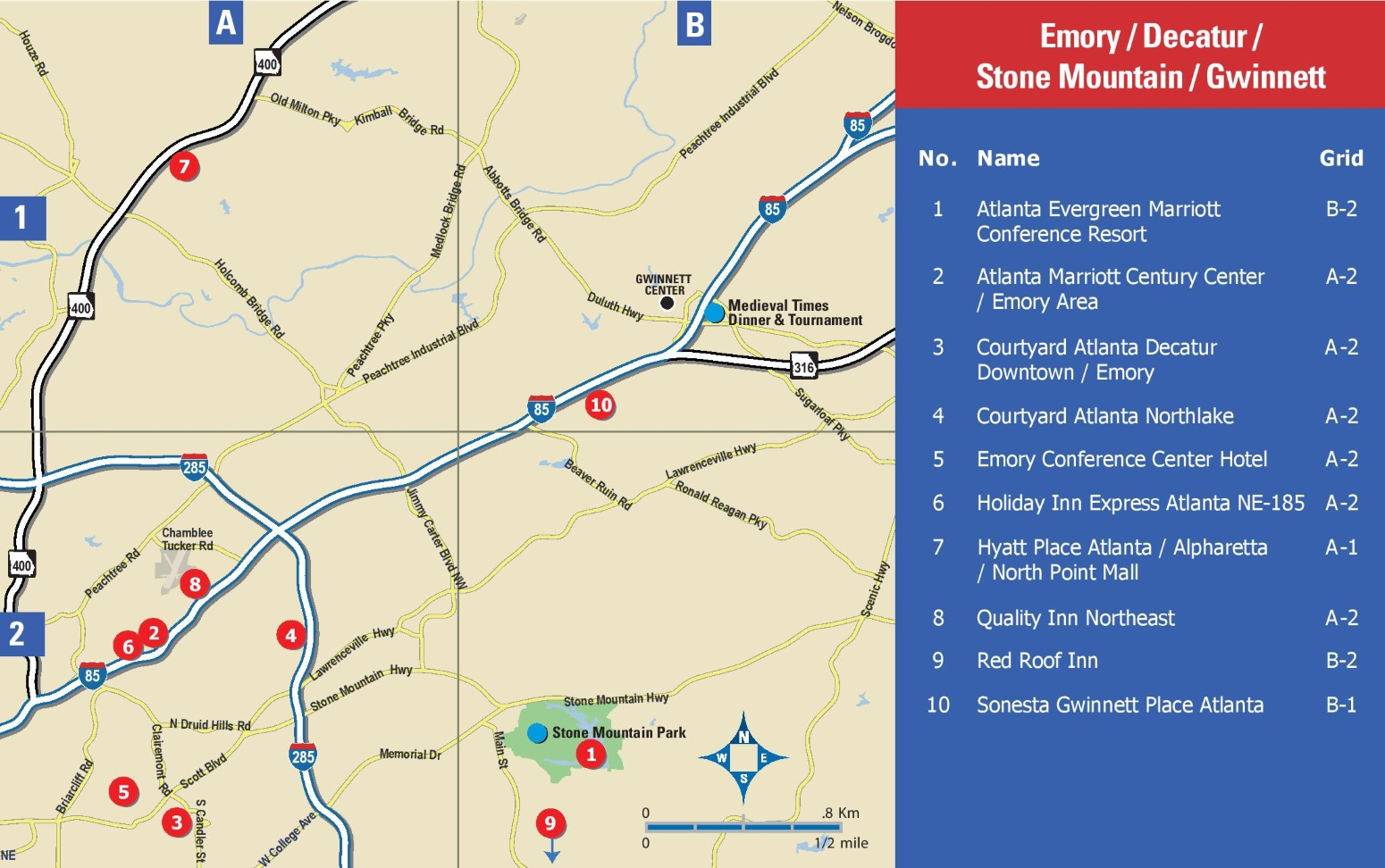 Emory Decatur Stone Mountain and Gwinnett hotel map