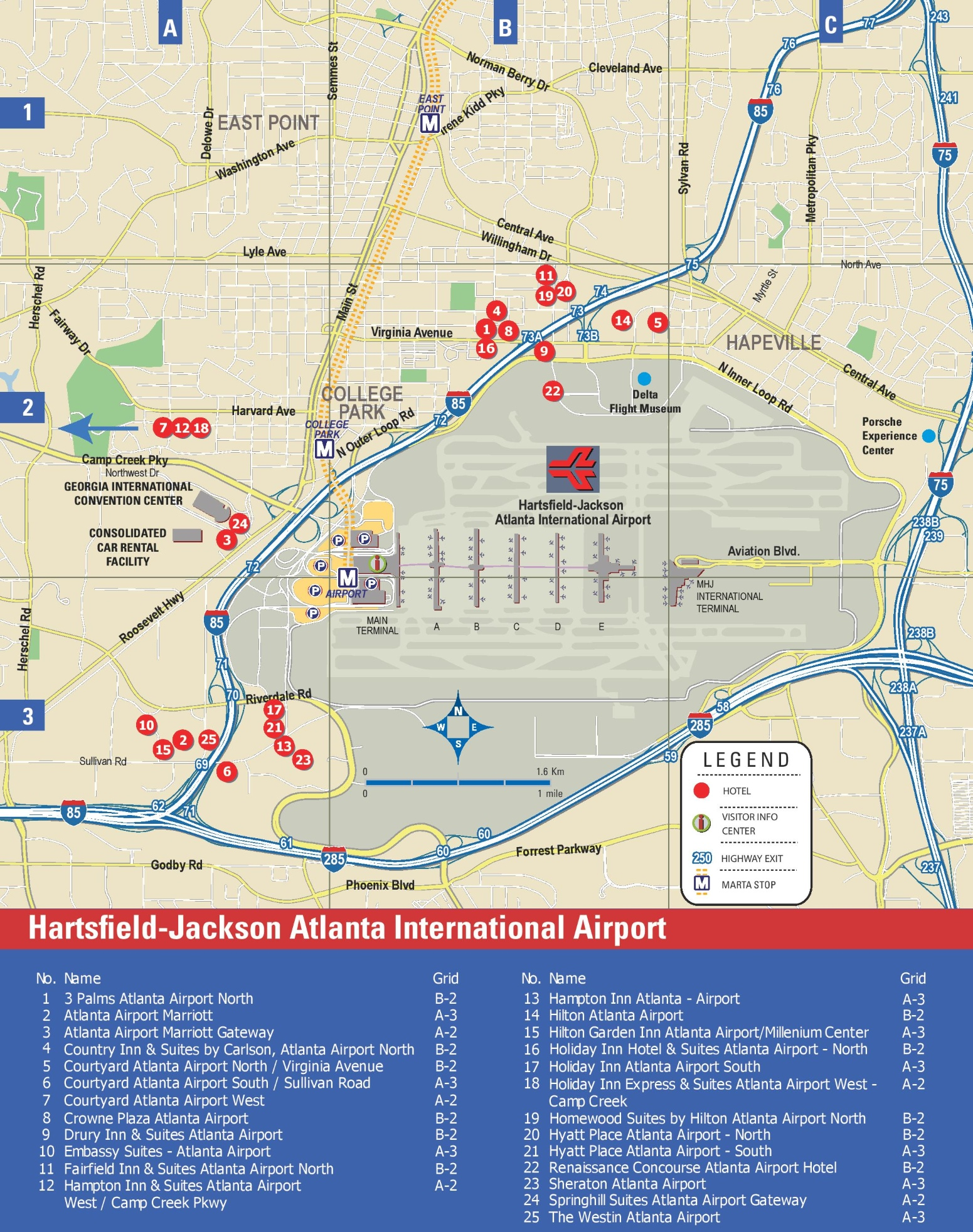 Hartsfield Jackson Atlanta International Airport Map Hartsfield Jackson Atlanta International Airport