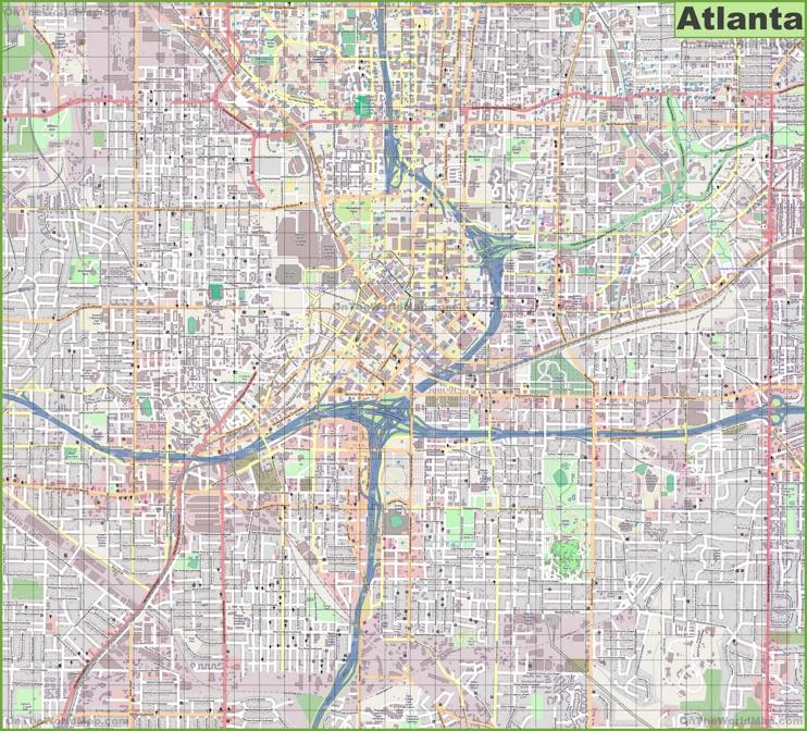 Large Detailed Street Map Of Atlanta