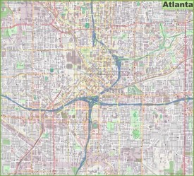 Large detailed street map of Atlanta