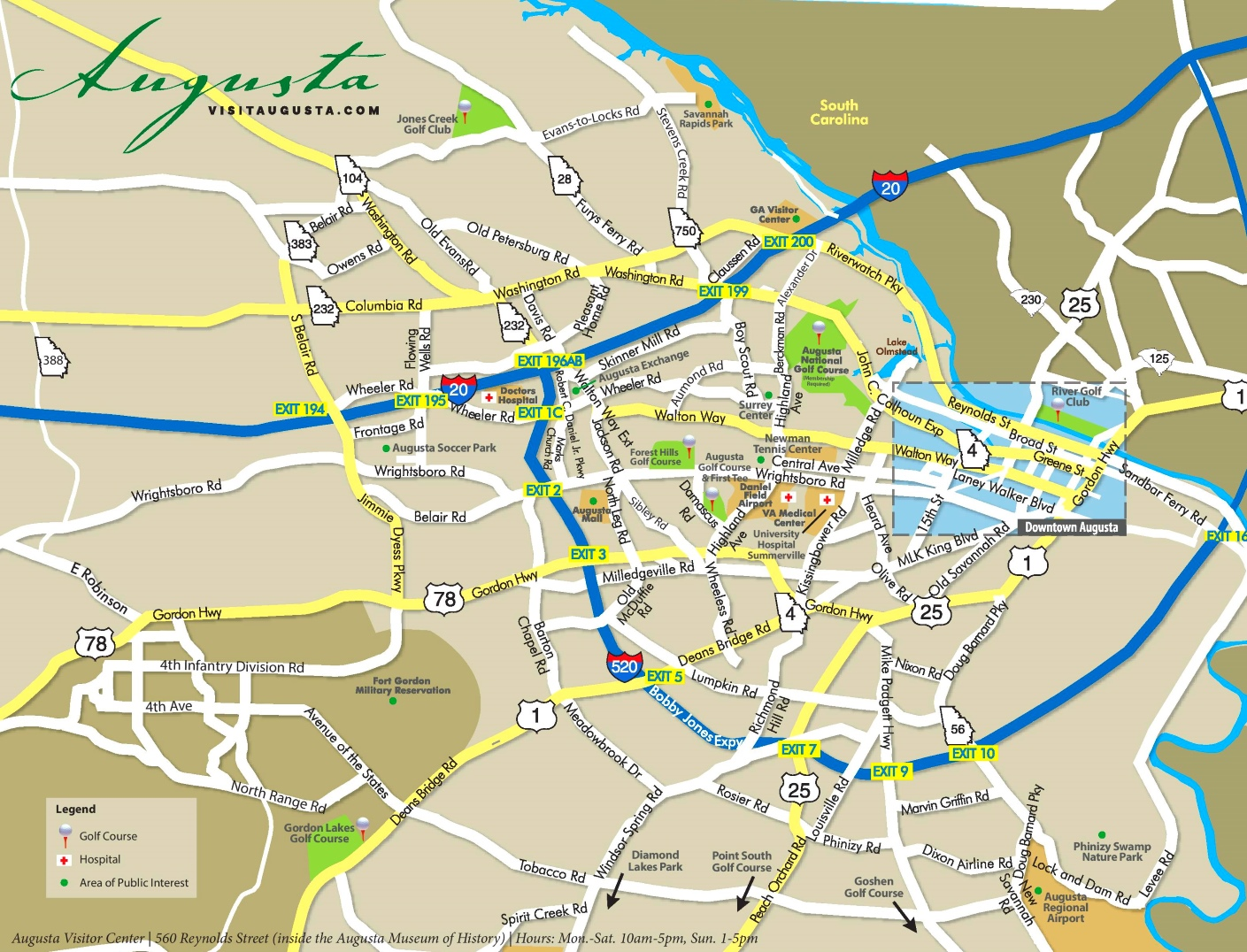 Map Of Augusta Georgia And Surrounding Area.Augusta Georgia Area Road Map