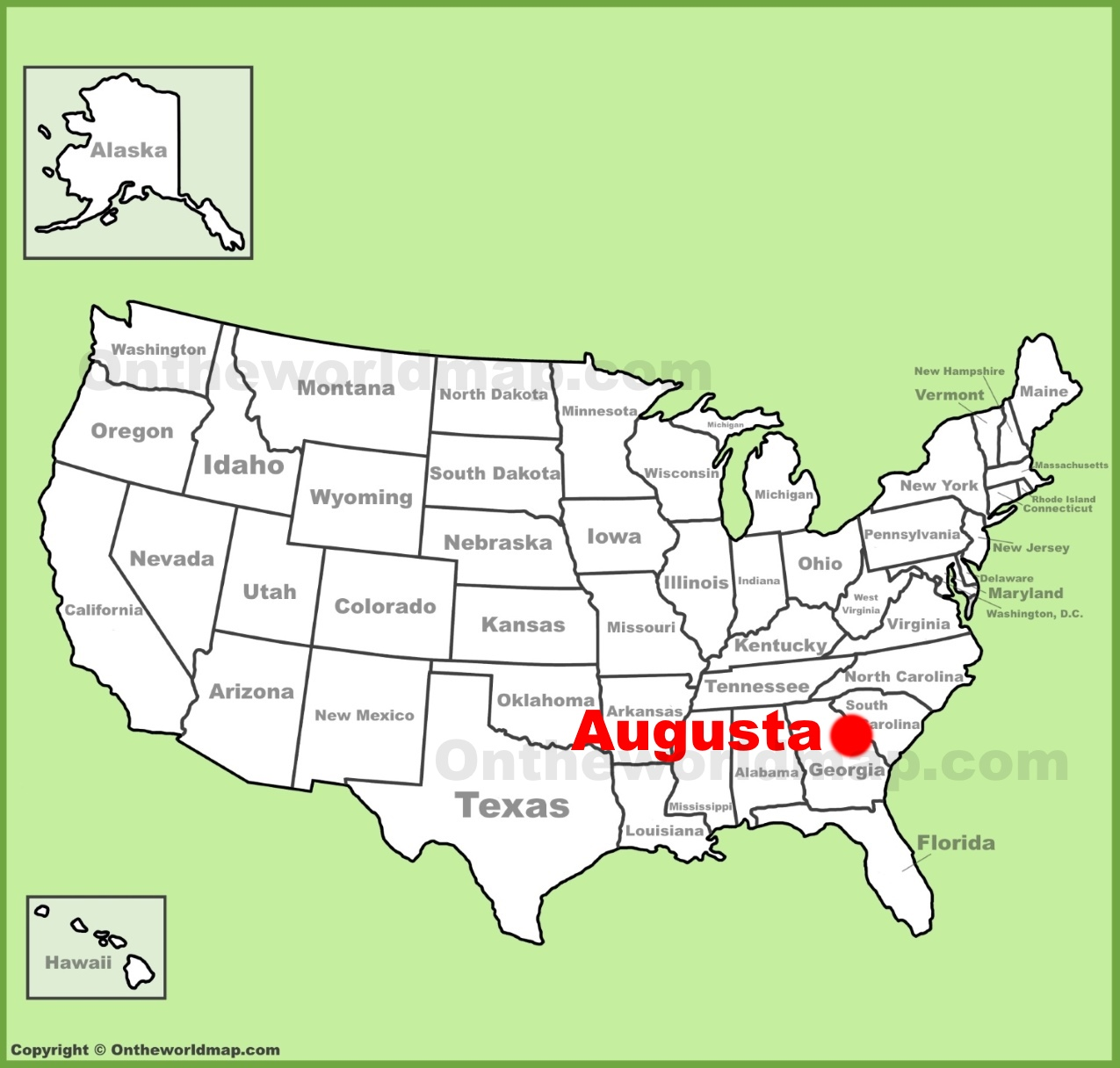 Map Of Augusta Georgia And Surrounding Area.Augusta Georgia Location On The U S Map