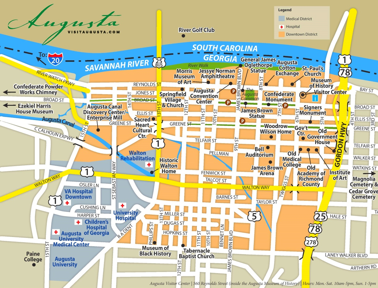 Map Of Augusta Georgia And Surrounding Area.Augusta Georgia Road Map