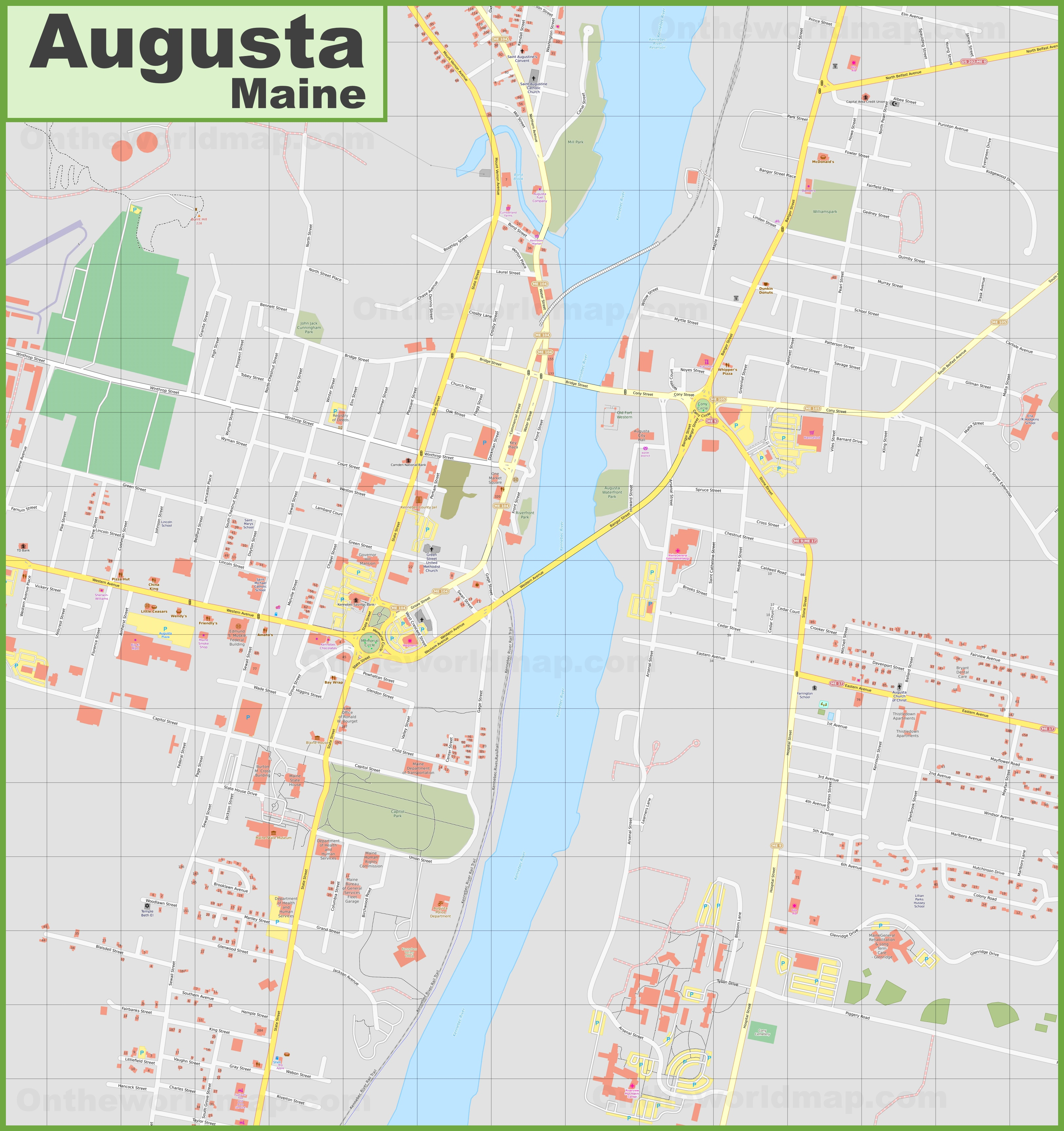 Large detailed map of Augusta