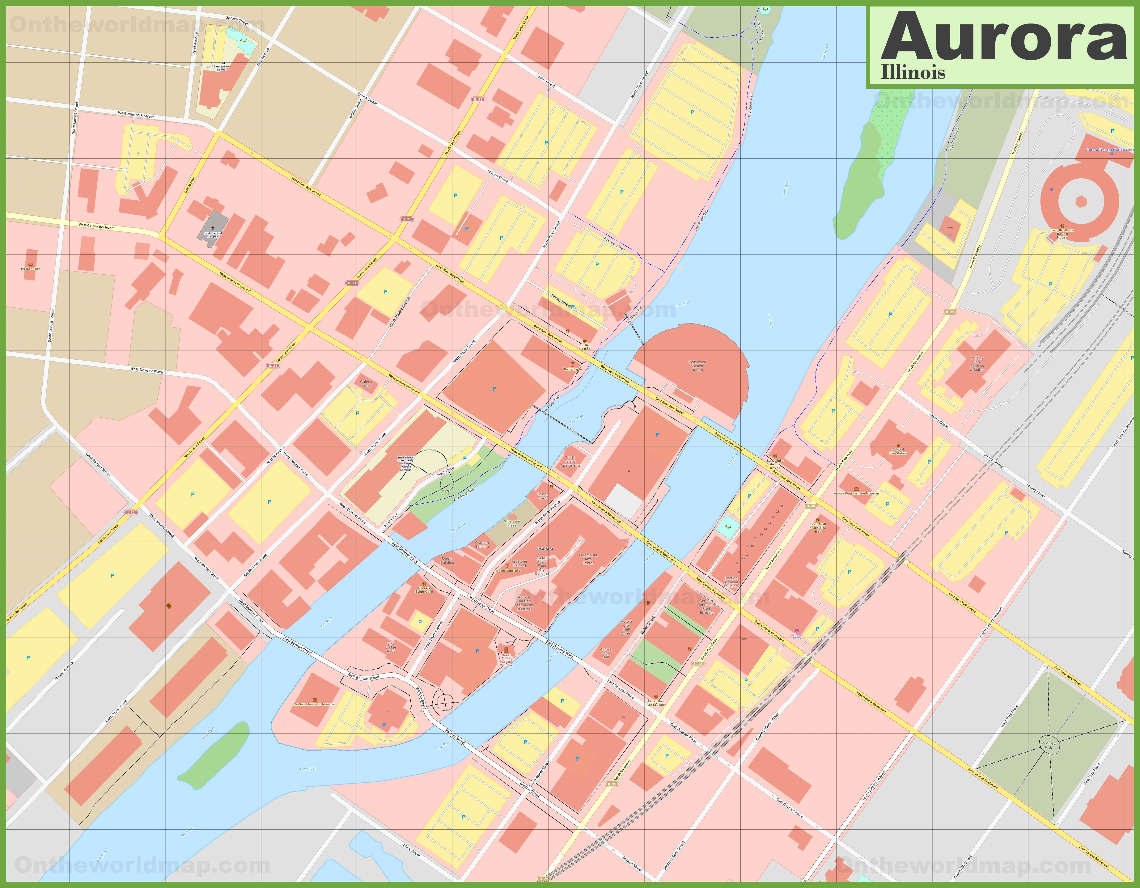 Aurora Illinois Downtown Map