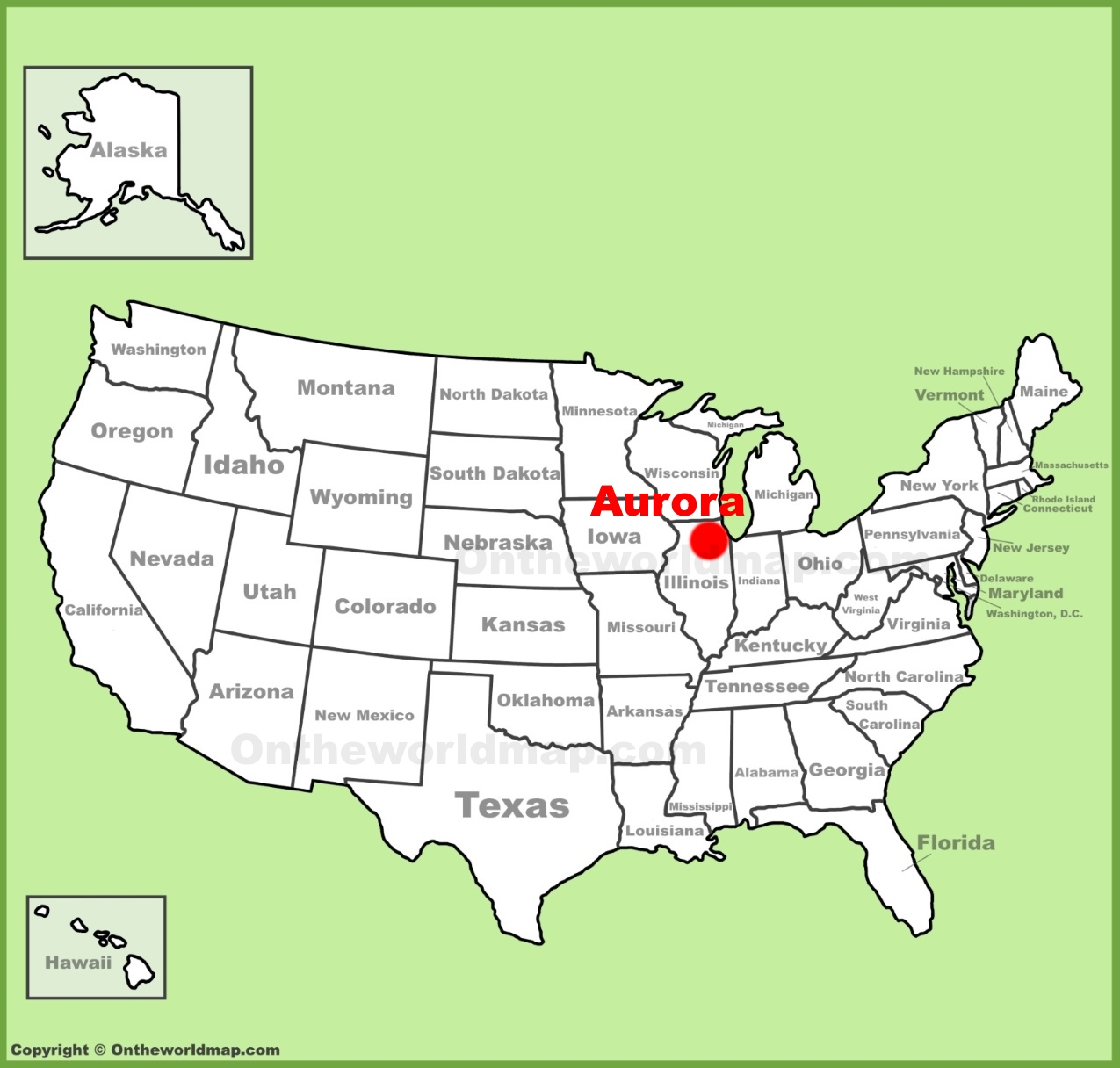 Aurora Illinois Location On The U S Map