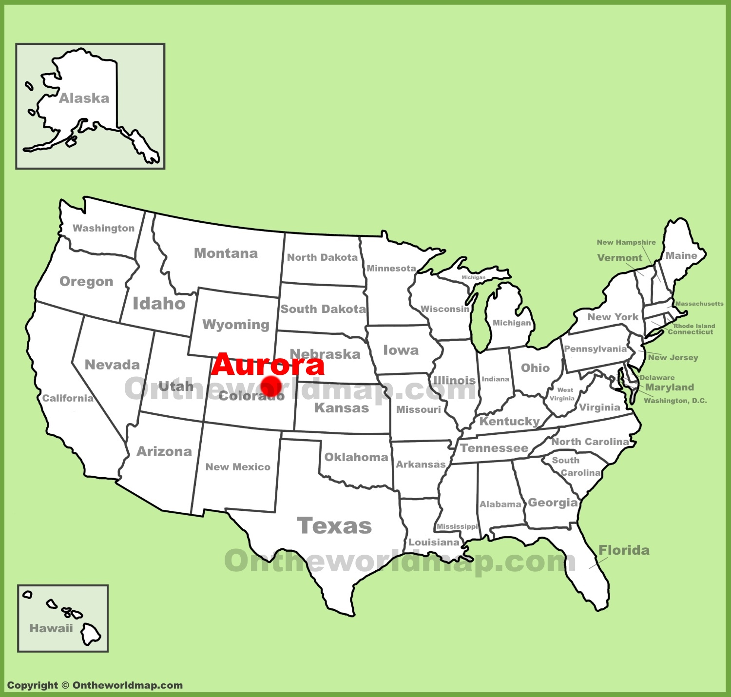 Aurora Colorado location on the US Map