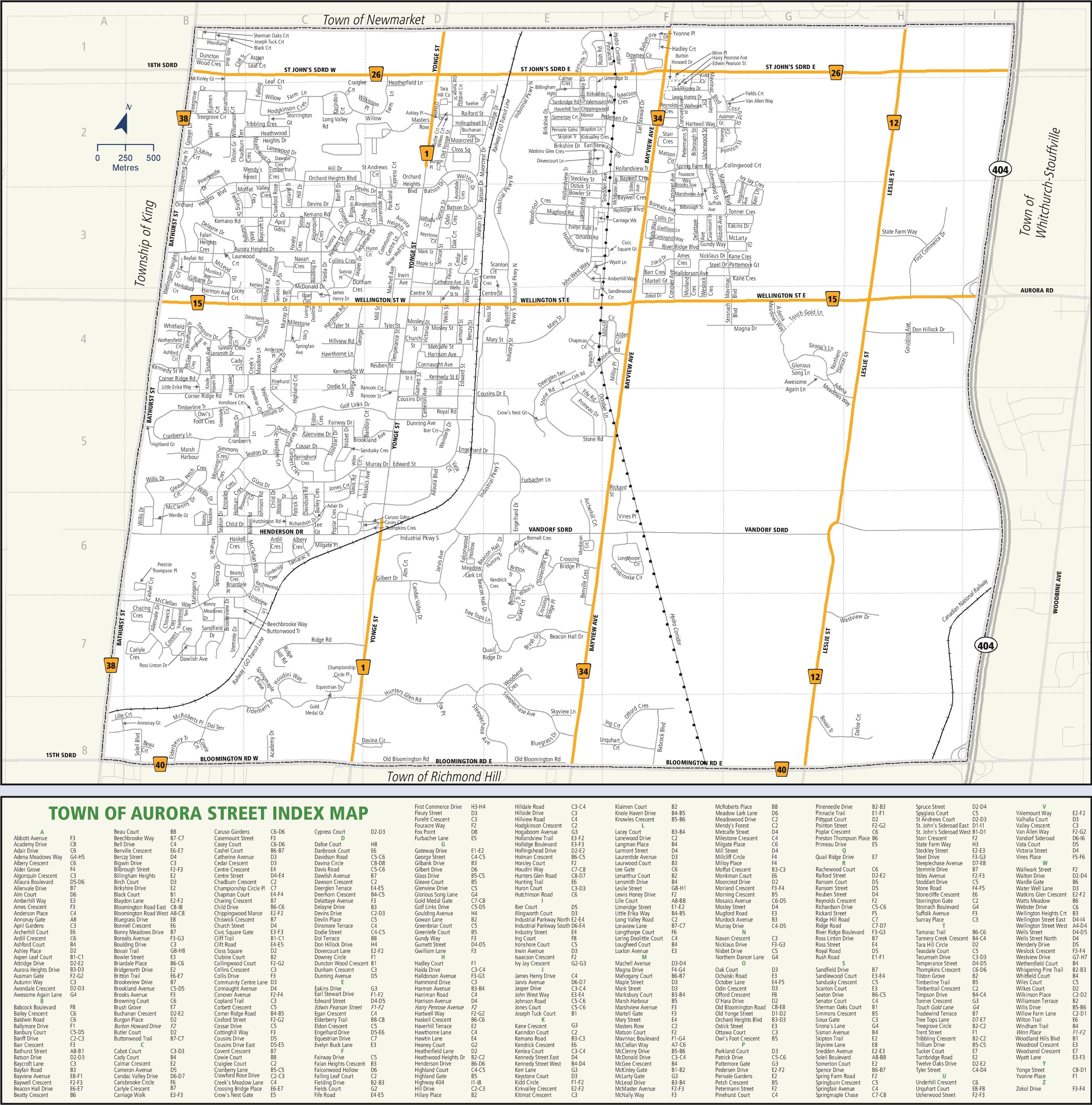 Aurora street map