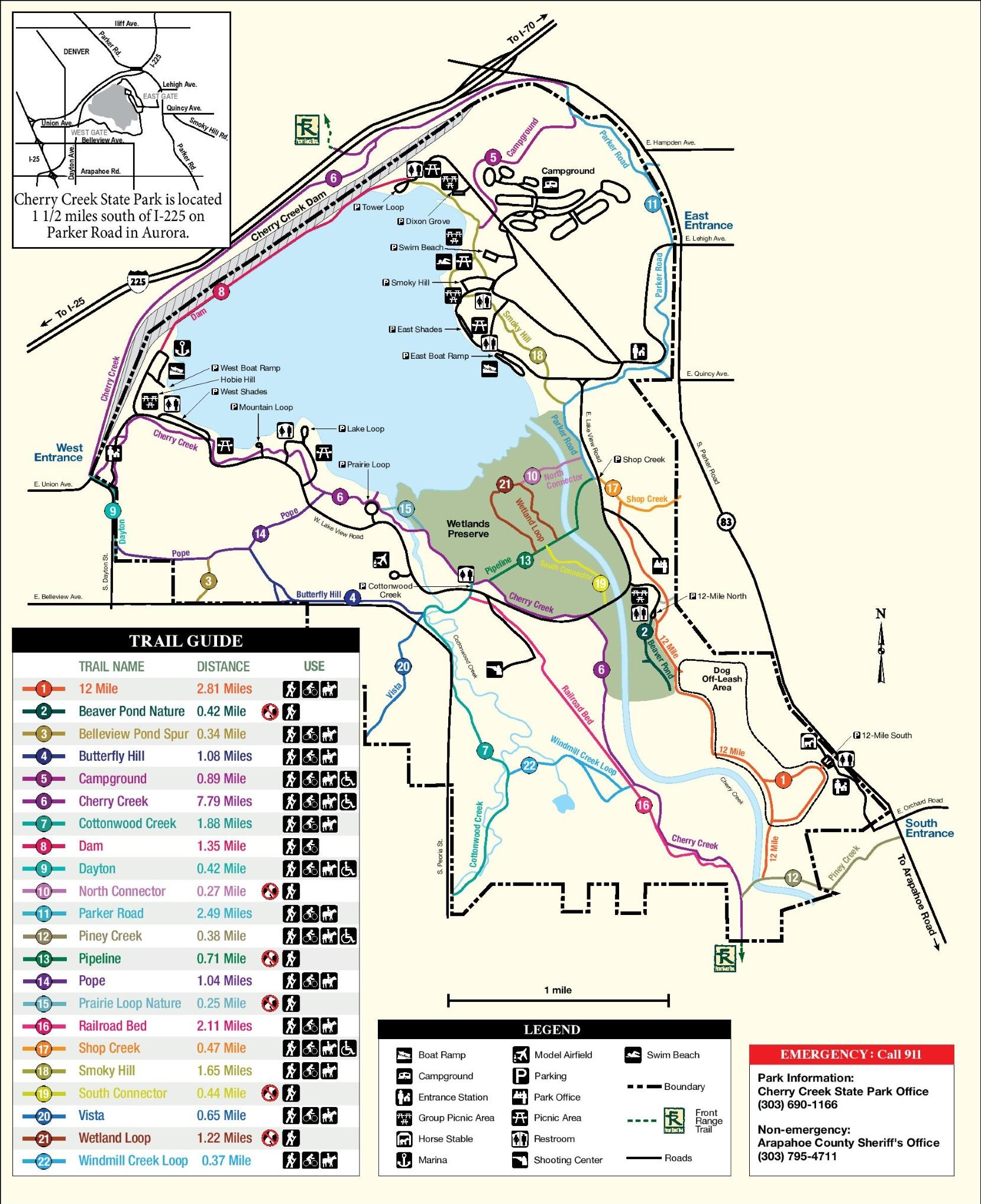Cherry Creek State Park Map Cherry Creek State Park map Cherry Creek State Park Map