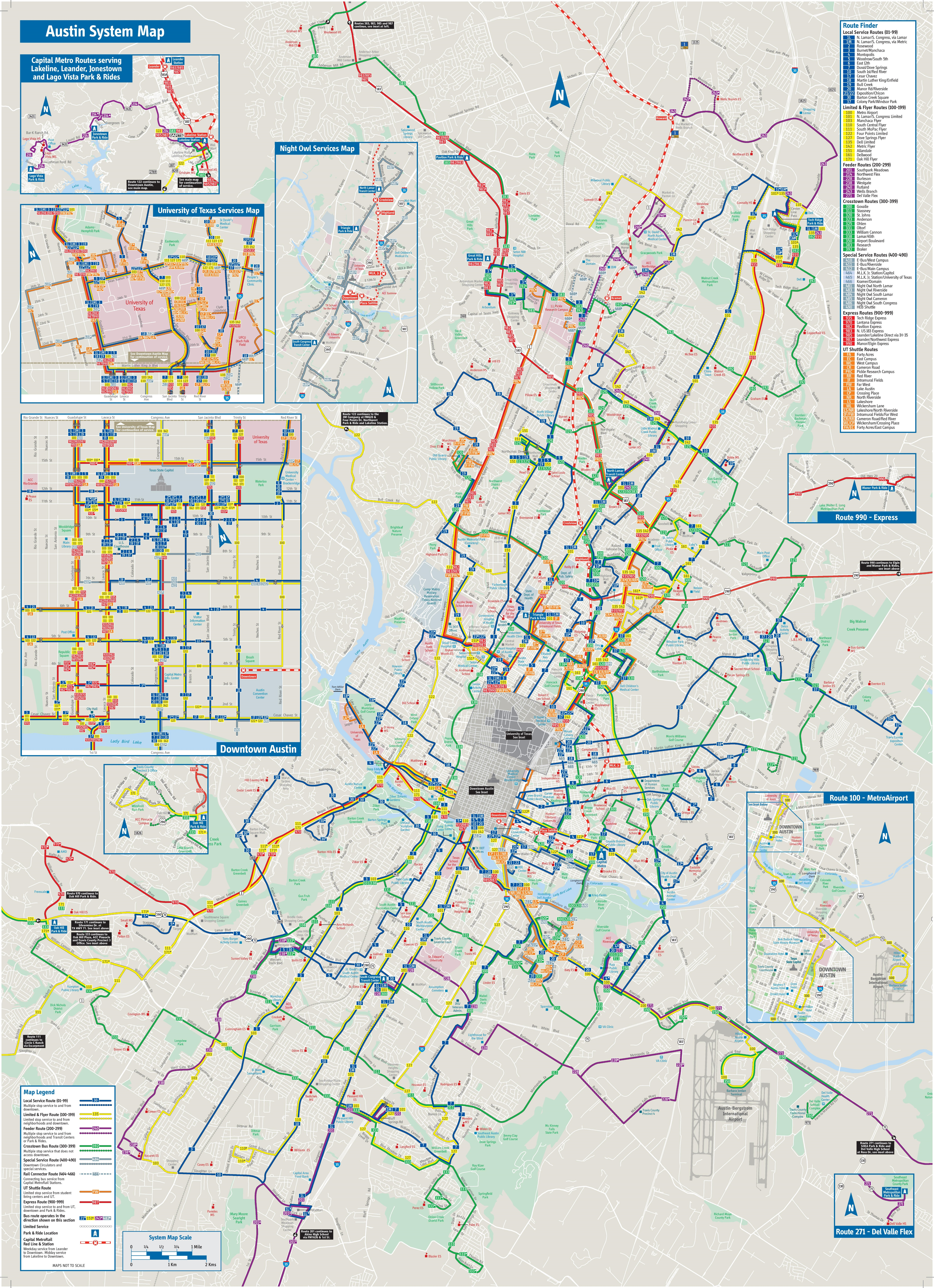 Austin bus map