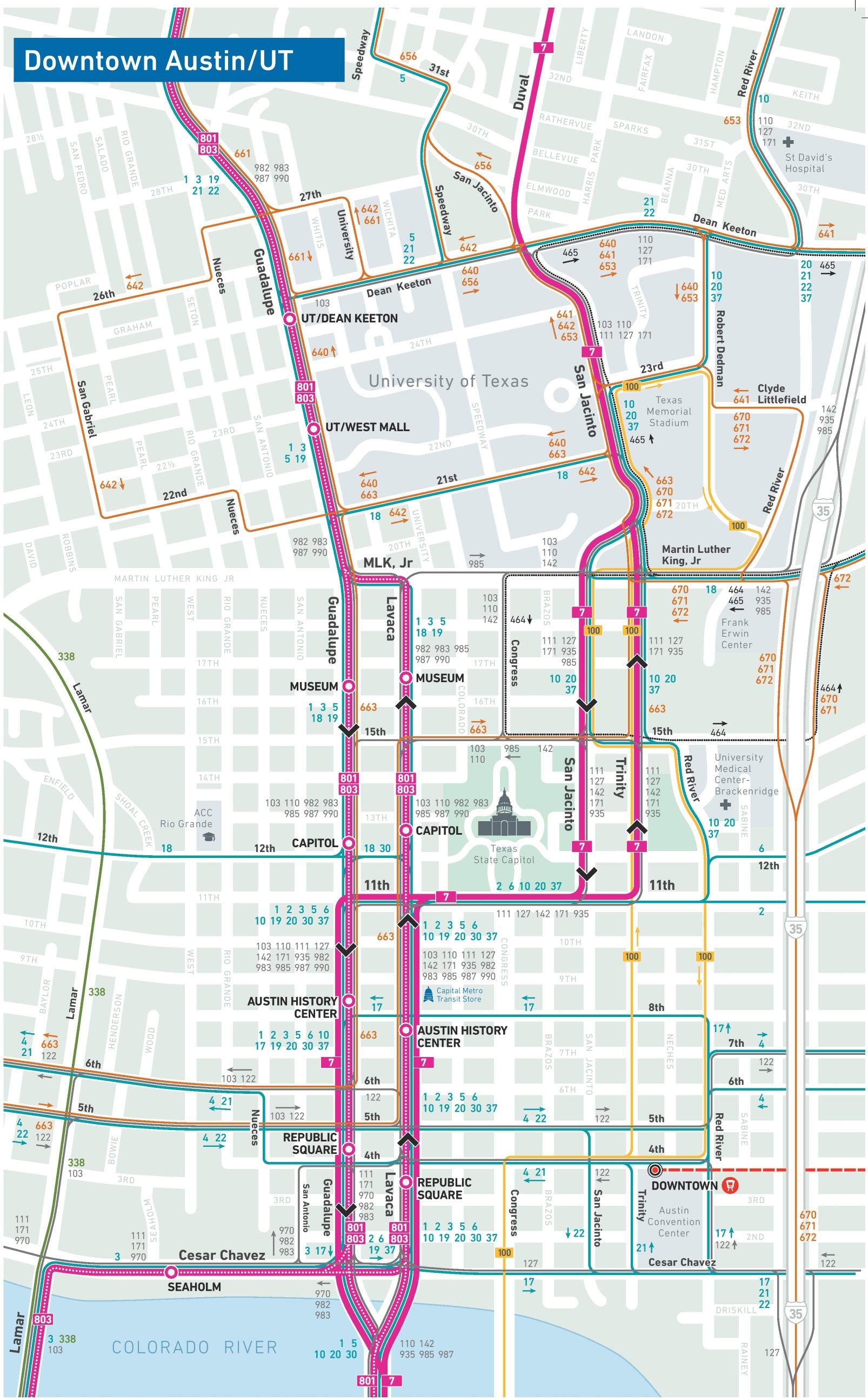 Austin downtown transport map