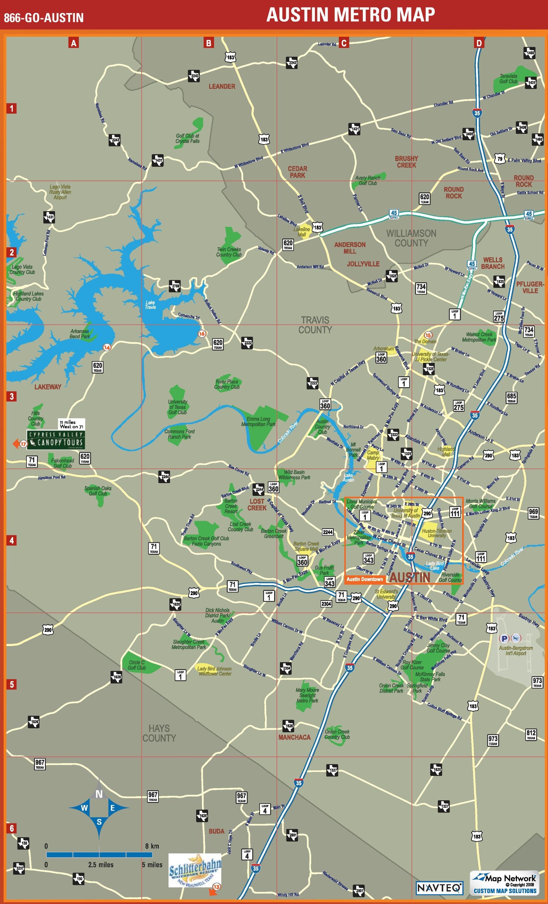 Austin Metro Area Map - Austin metro area map