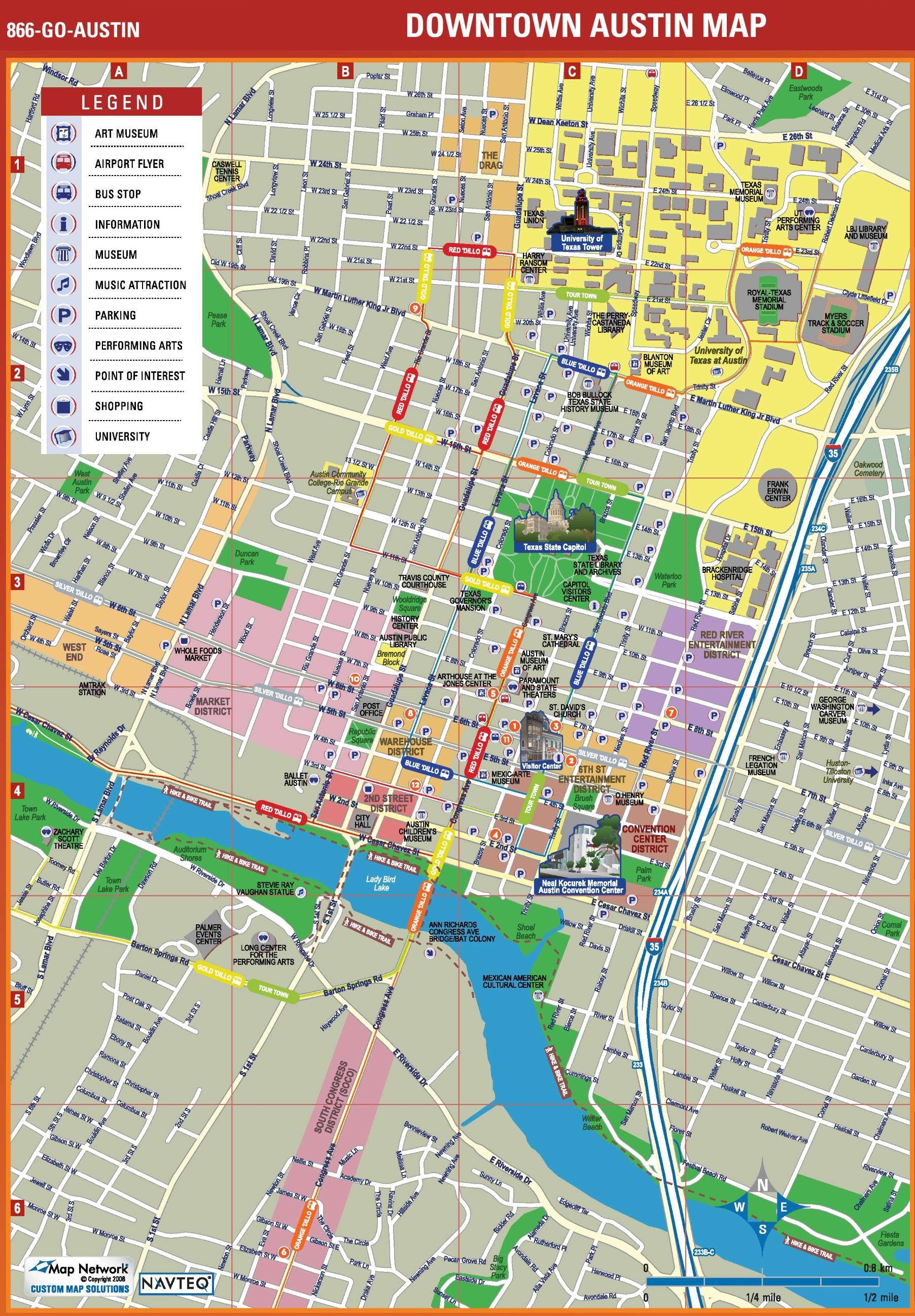 Austin City Map Austin tourist attractions map Austin City Map