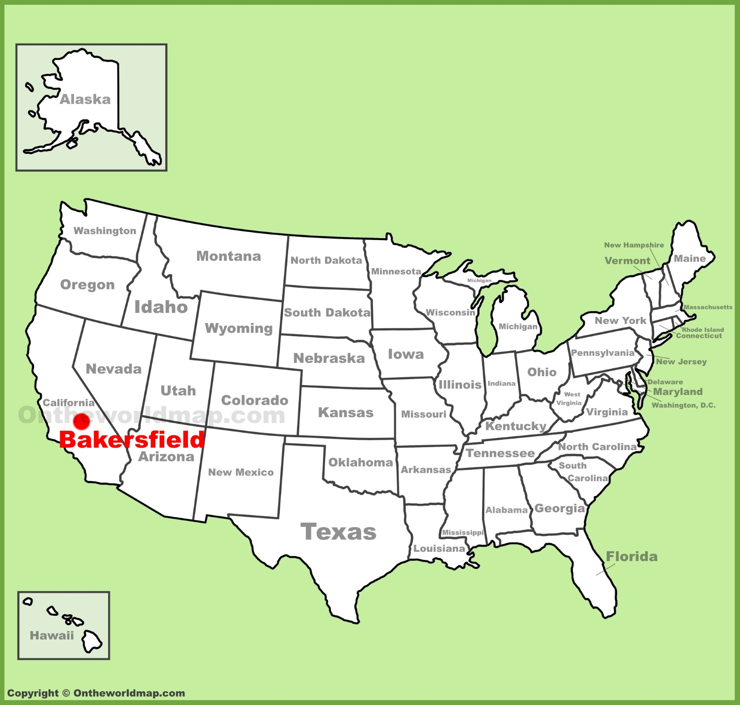Bakersfield location on the U.S. Map