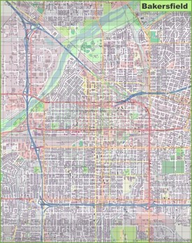 Large detailed map of Bakersfield