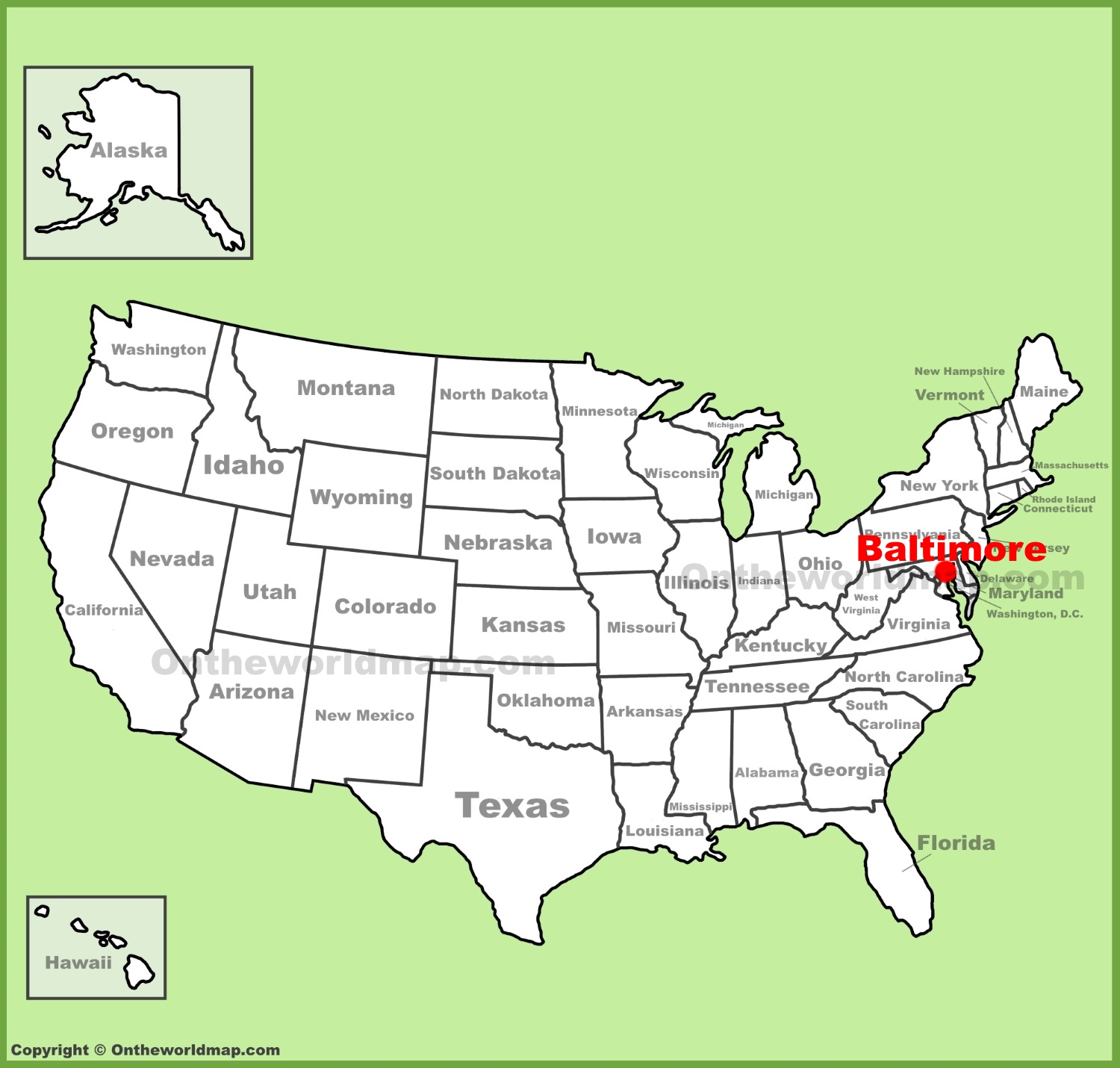 Baltimore location on the U.S. Map on pittsburgh map, charleston map, buffalo map, usa map, richmond map, galveston map, billings map, detroit map, bangor map, phoenix map, boston map, anchorage map, anne arundel map, chesapeake bay map, st. louis map, norfolk map, minneapolis map, randallstown map, maryland map, d.c. map,