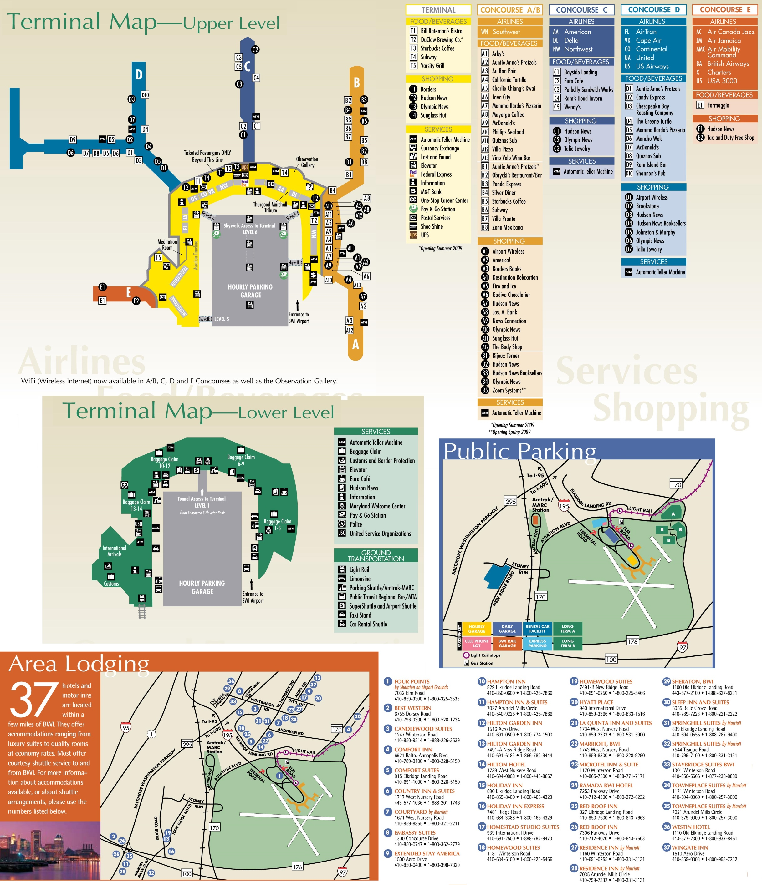 baltimore international airport terminal map Baltimore Washington International Airport Map baltimore international airport terminal map