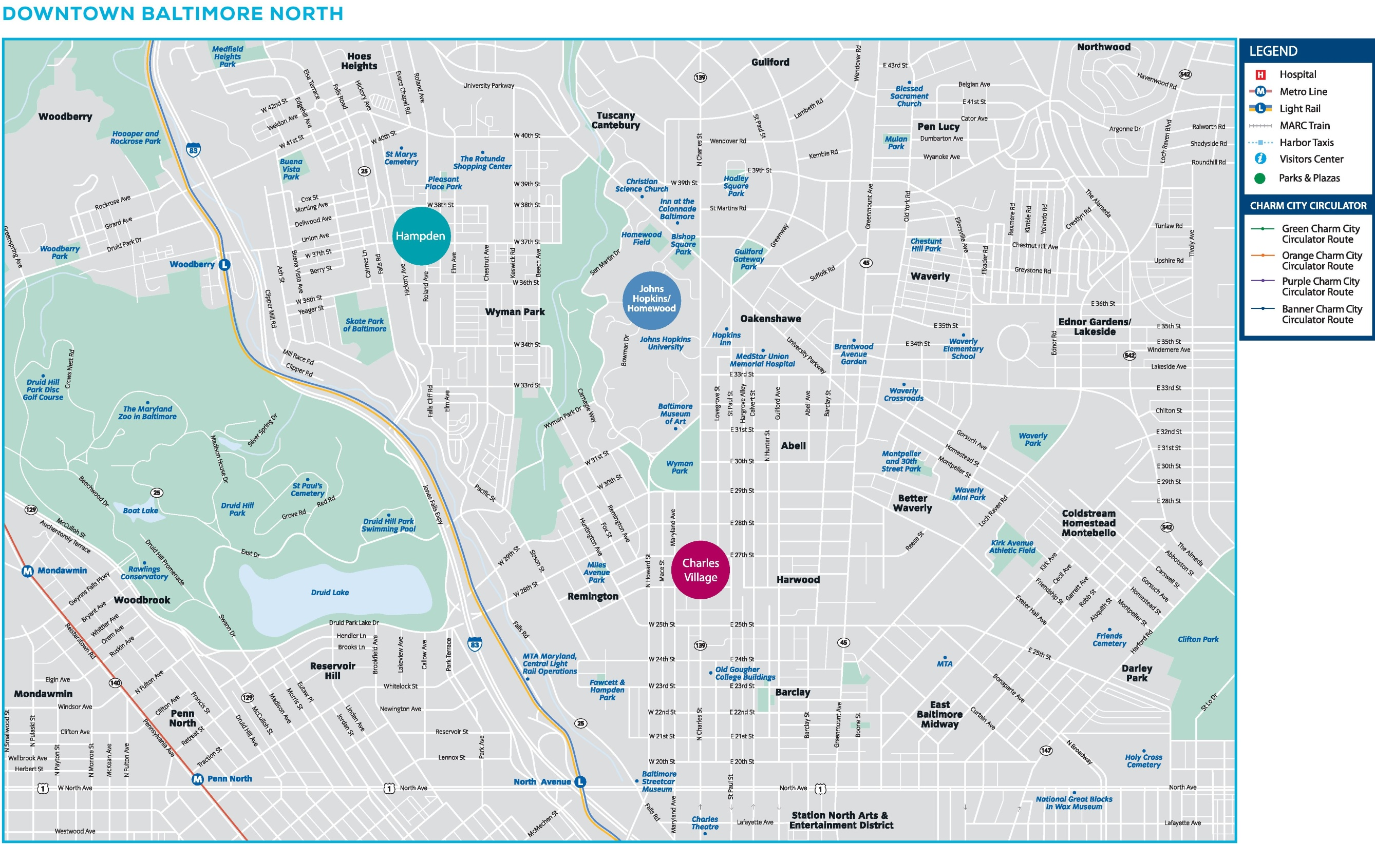 Downtown Baltimore North map