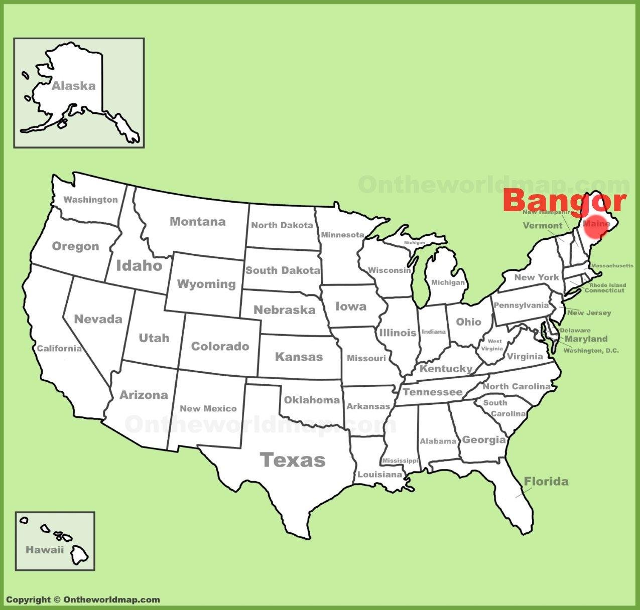 Map Of Bangor Bangor location on the U.S. Map