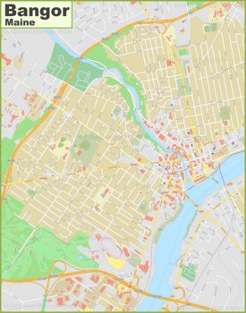 Large detailed map of Bangor