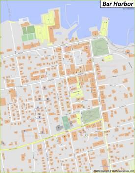 Bar Harbor Downtown Map