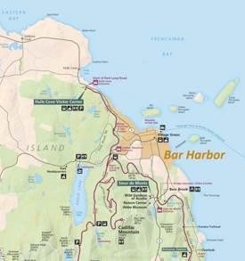 Tourist Map of Surroundings of Bar Harbor