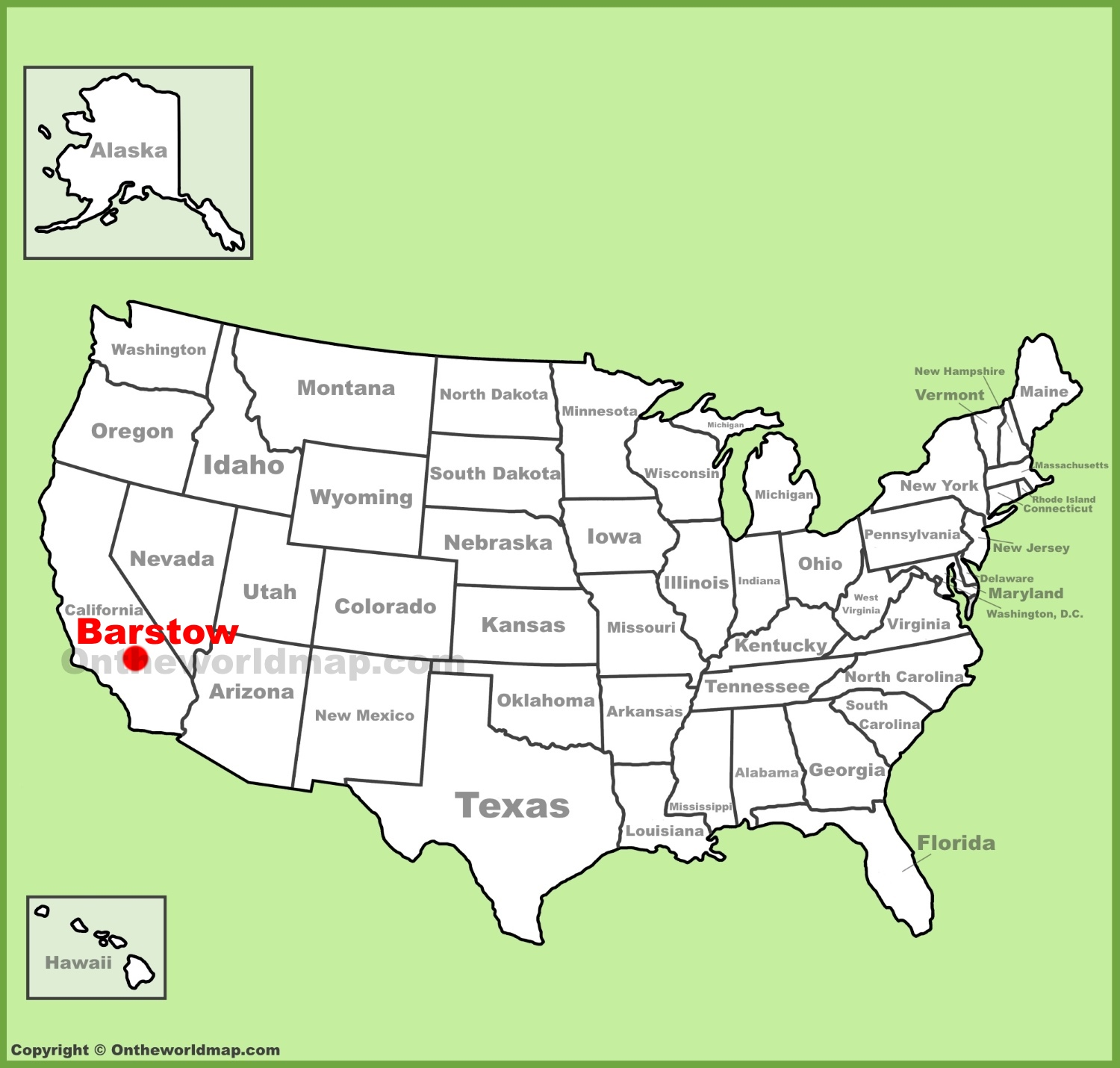 Barstow location on the US Map