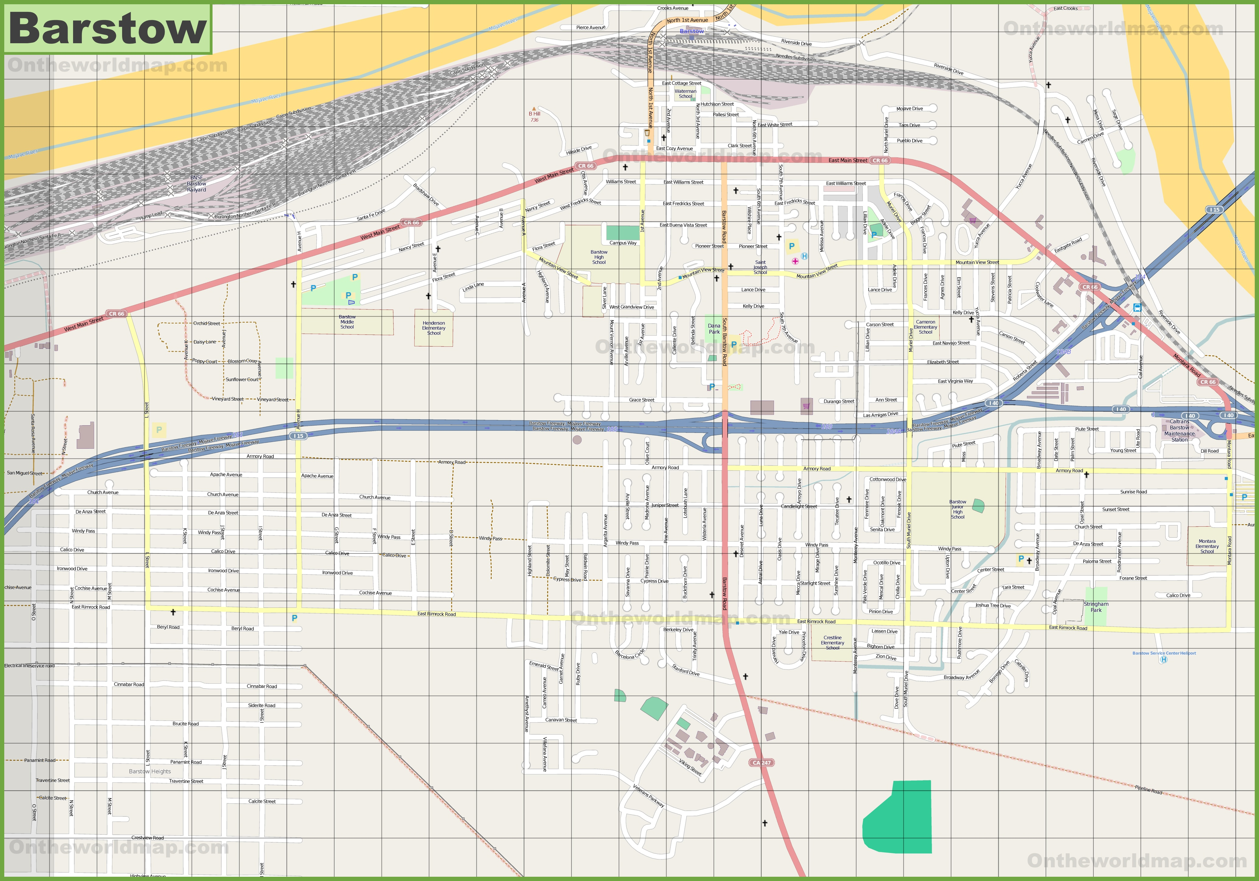 Large detailed map of Barstow