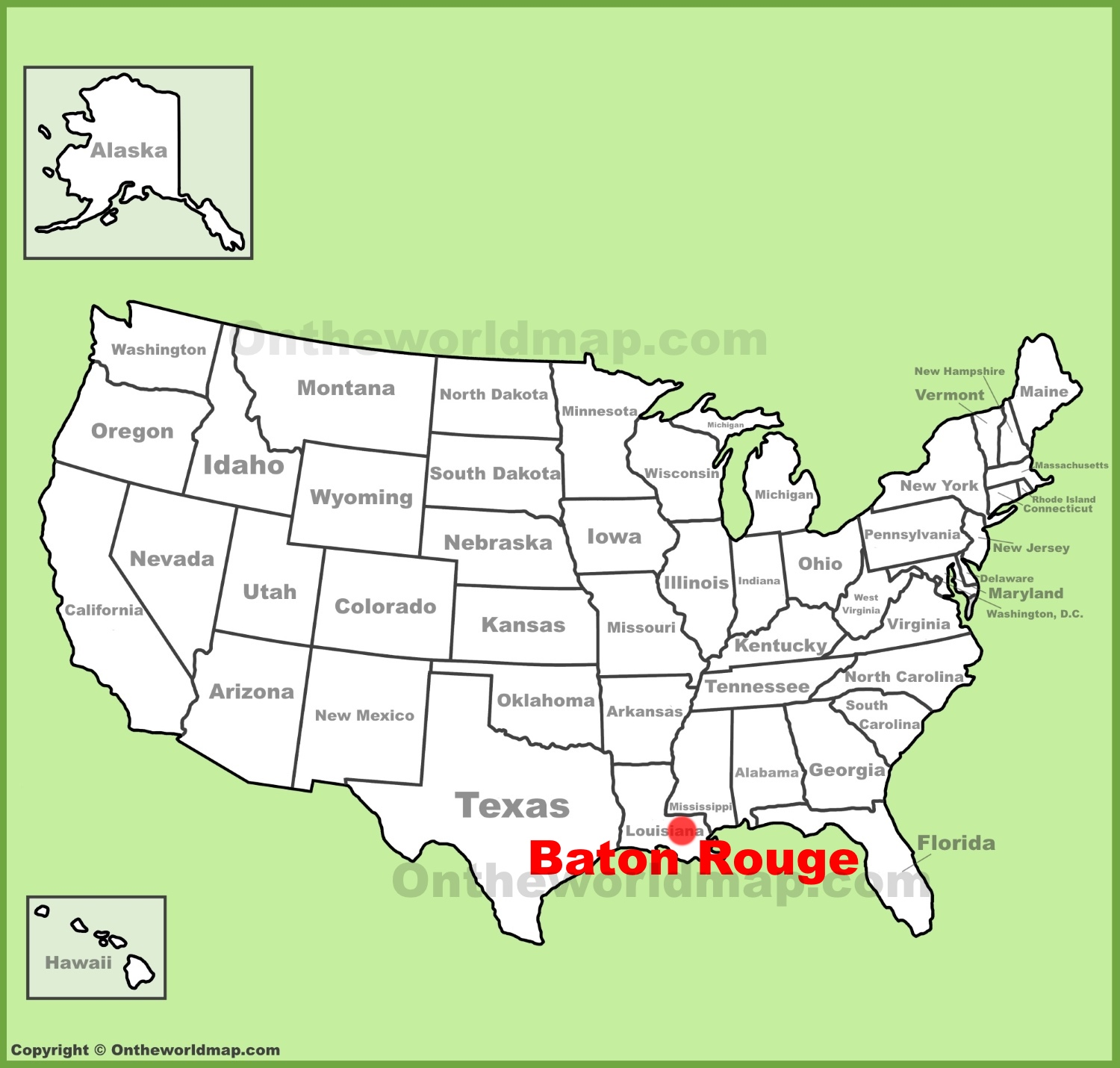 baton rouge location on the u s map